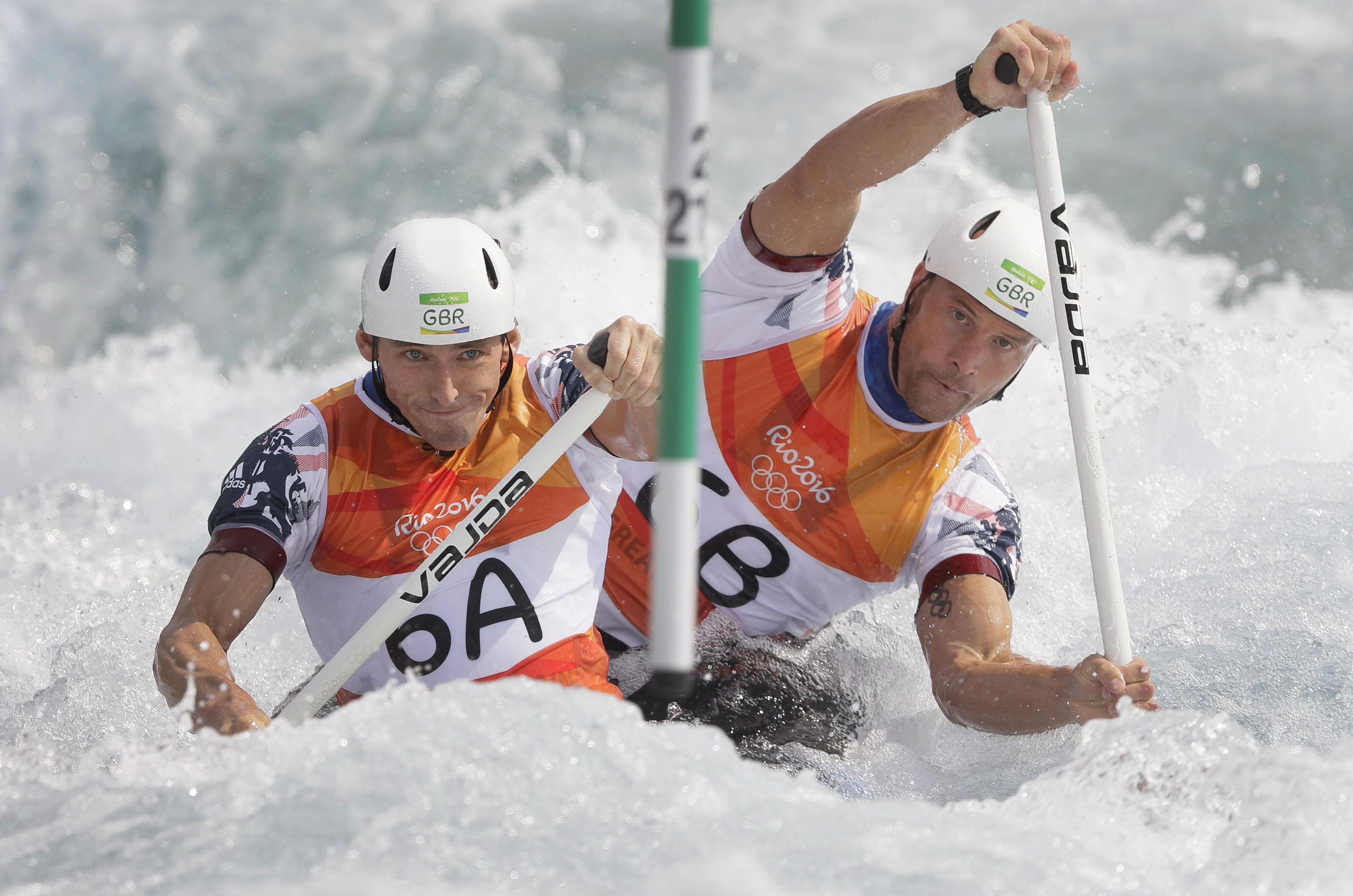 David Florence, left,  and Richard Hounslow compete in the C2.