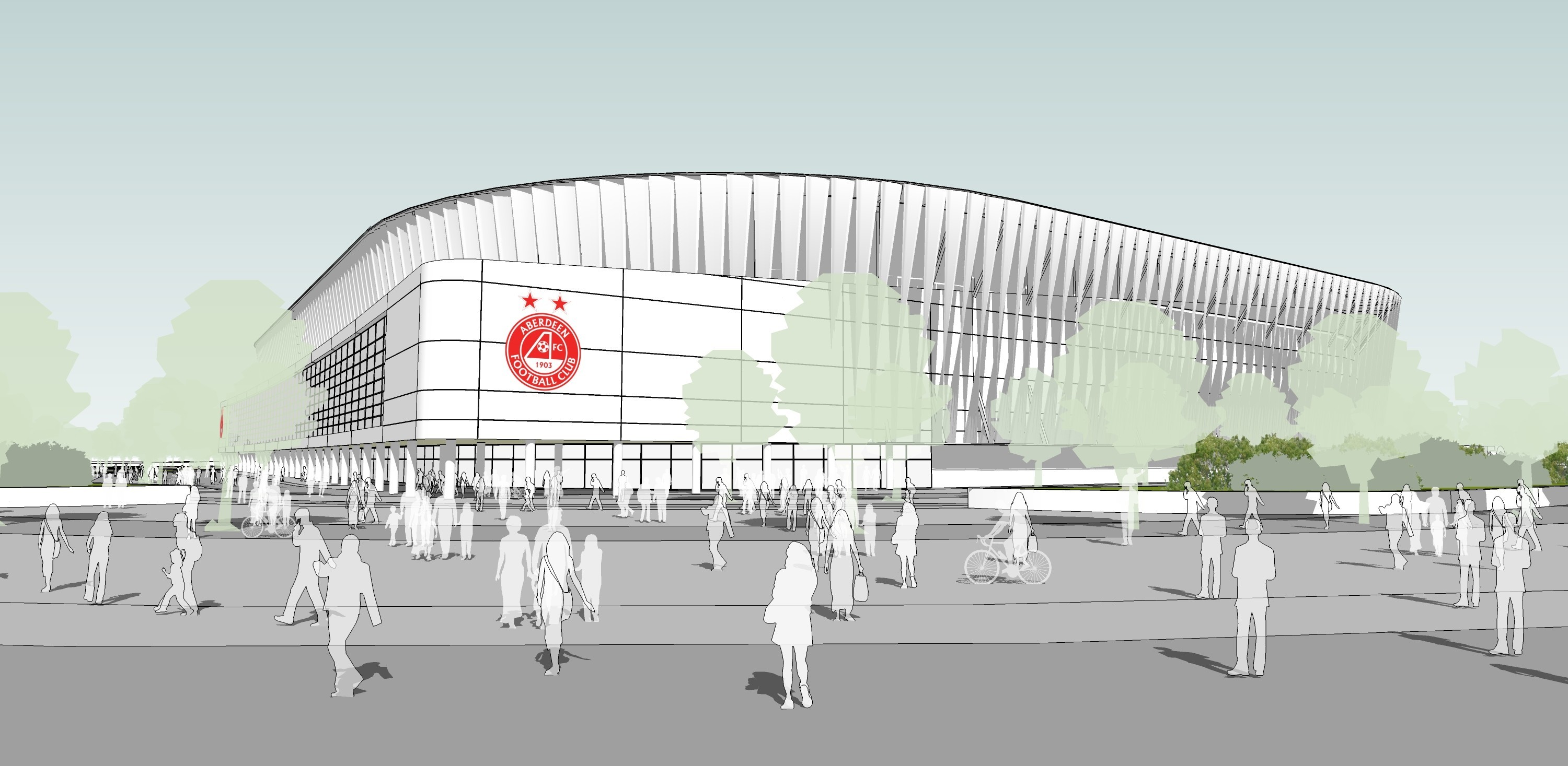 modern: An artist's impression of how the Dons' proposed new 20,000-seater stadium and facilities at Kingsford could look.