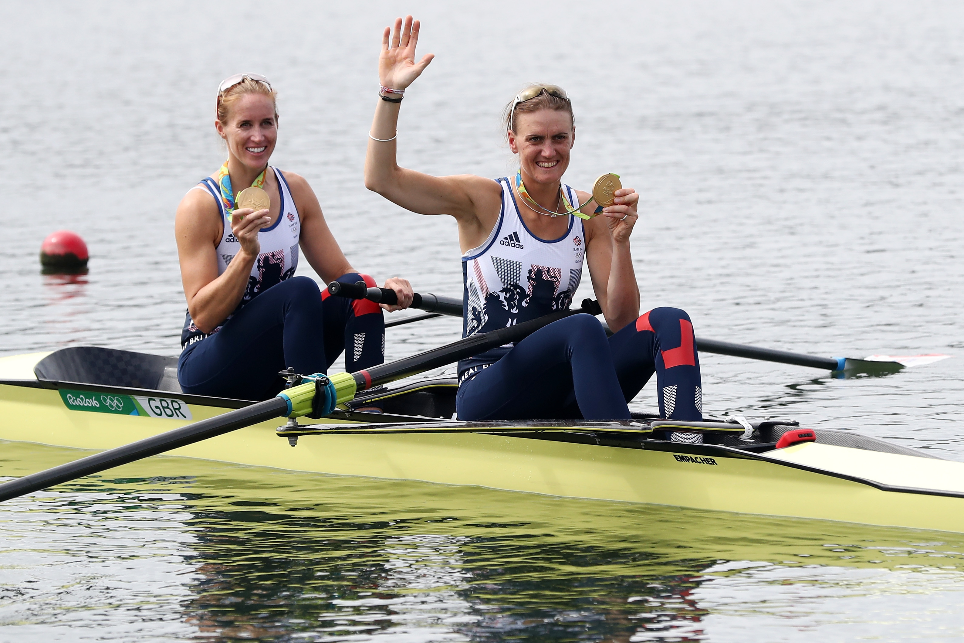 win:  Gold medallists in Rio Helen Glover, left, and Heather Stanning, and inset how we reported the pair's win in 2012.