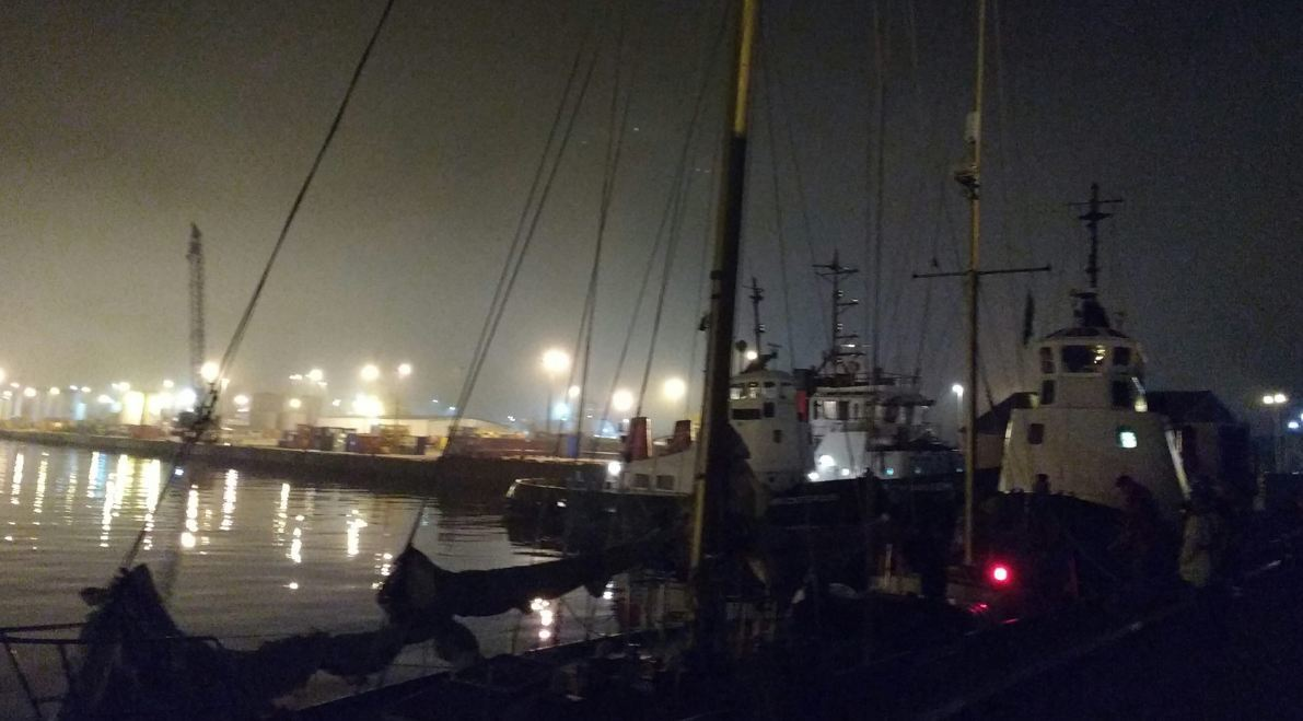 The scene at Aberdeen harbour last night. Picture by Aberdeen Coastguard Rescue Team.
