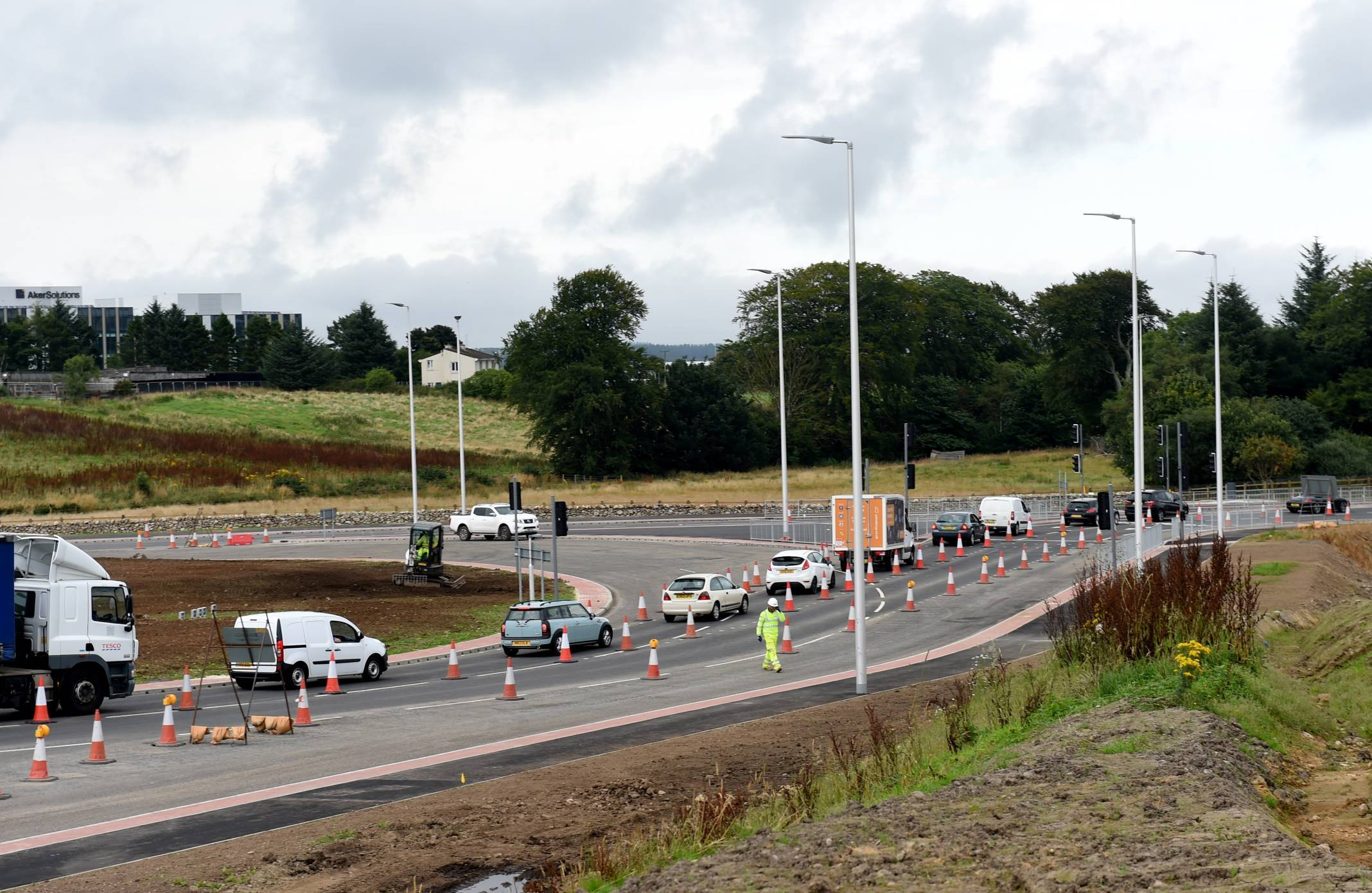The Craibstone Roundabout which is part of the first section of the AWPR.