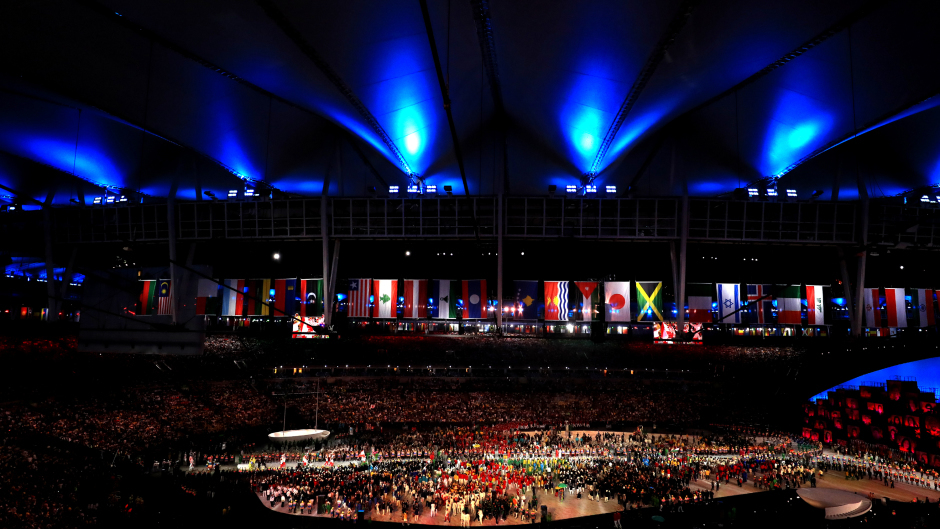 A general view as the national teams are lead out during the Rio Olympic Games 2016 Opening Ceremony at the Maracana.