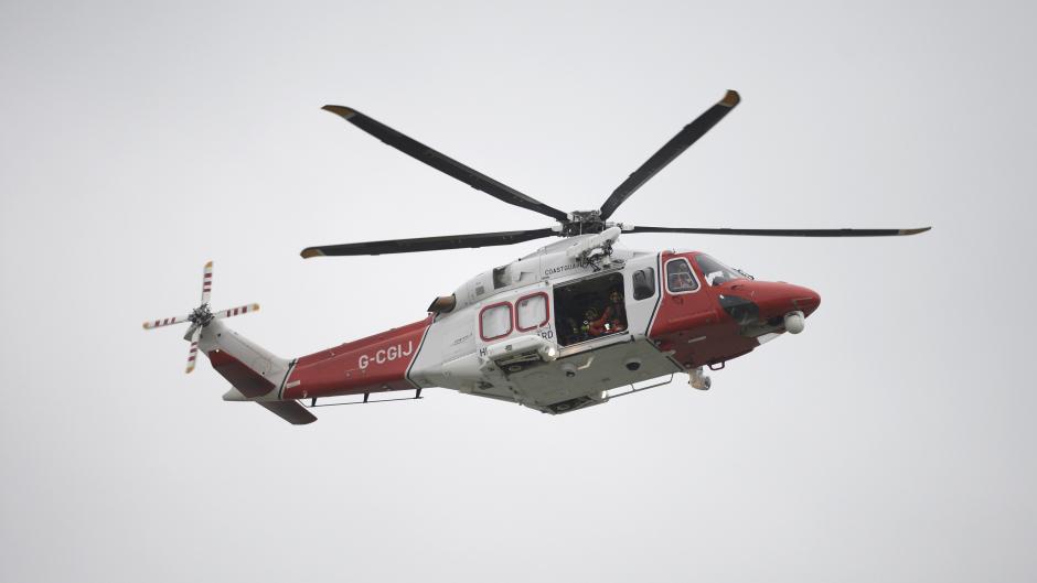 A coastguard rescue helicopter