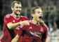 Peter Pawlett celebrates his diving header against Rijeka.