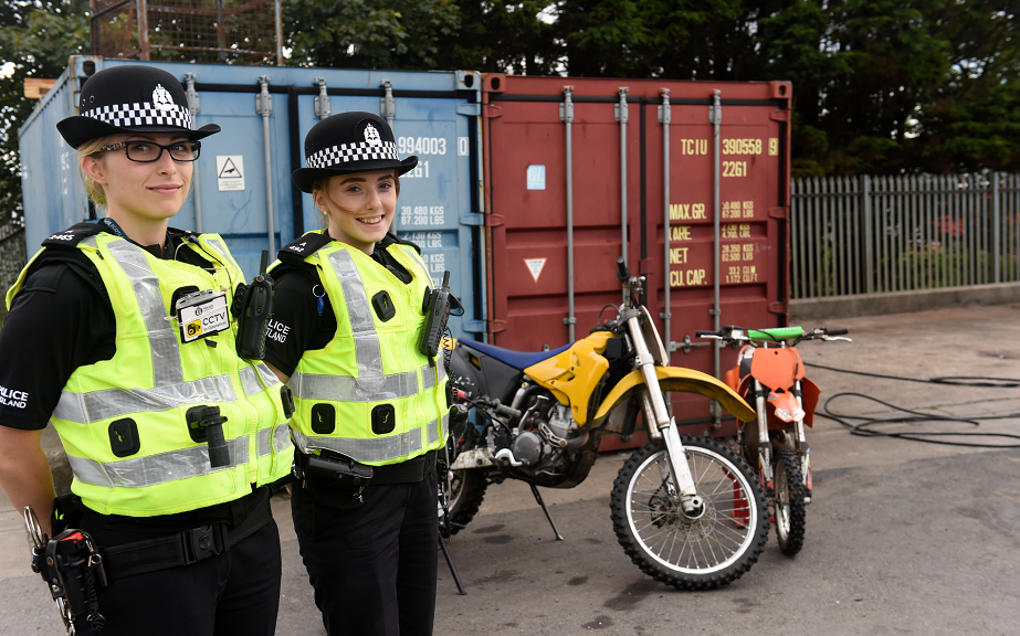 Pc Jenni Davidson, left, and Pc Karen Maxwell with one of the 49 motorbikes seized.