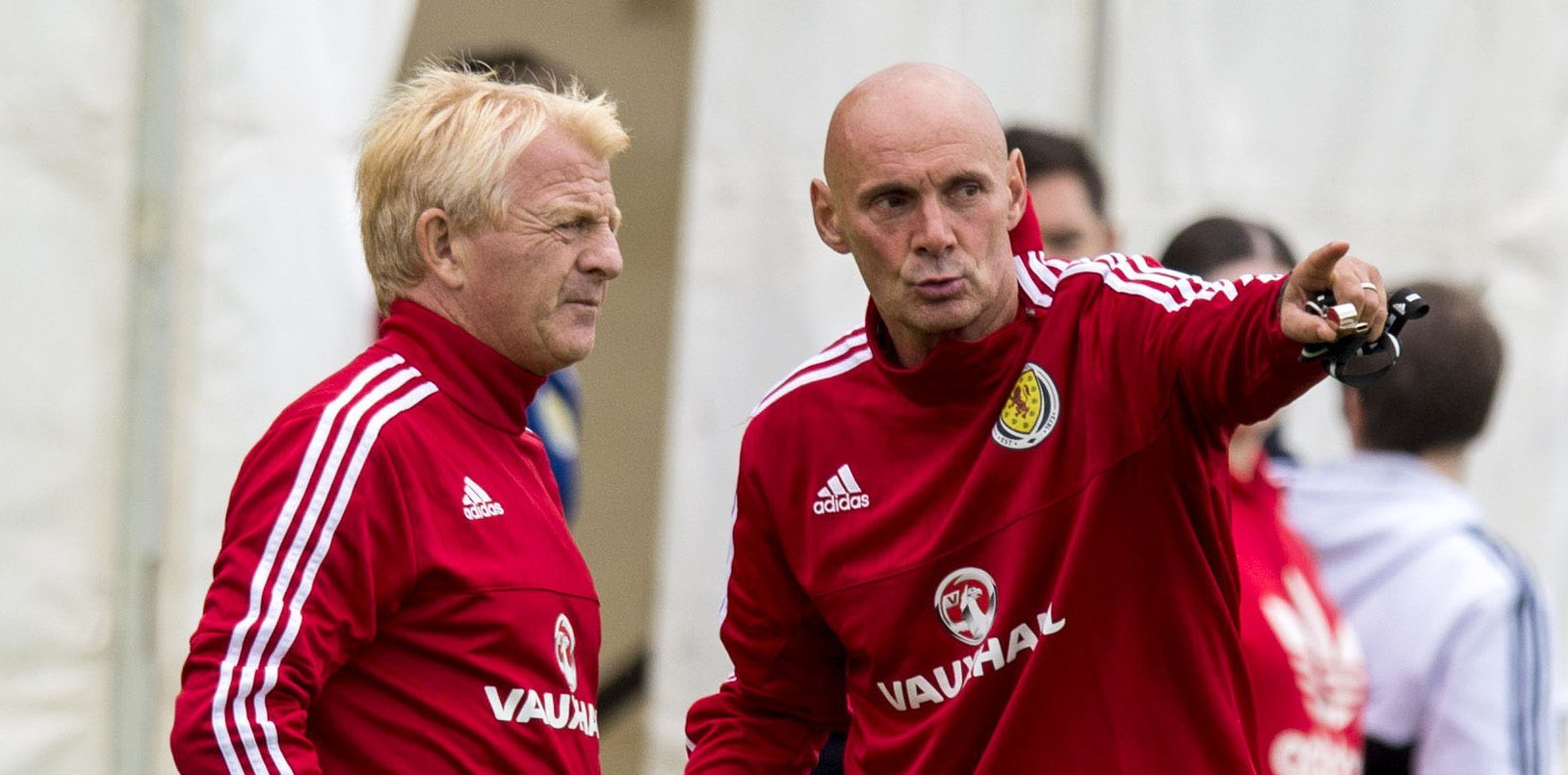 Andy Watson, right, with Gordon Strachan.