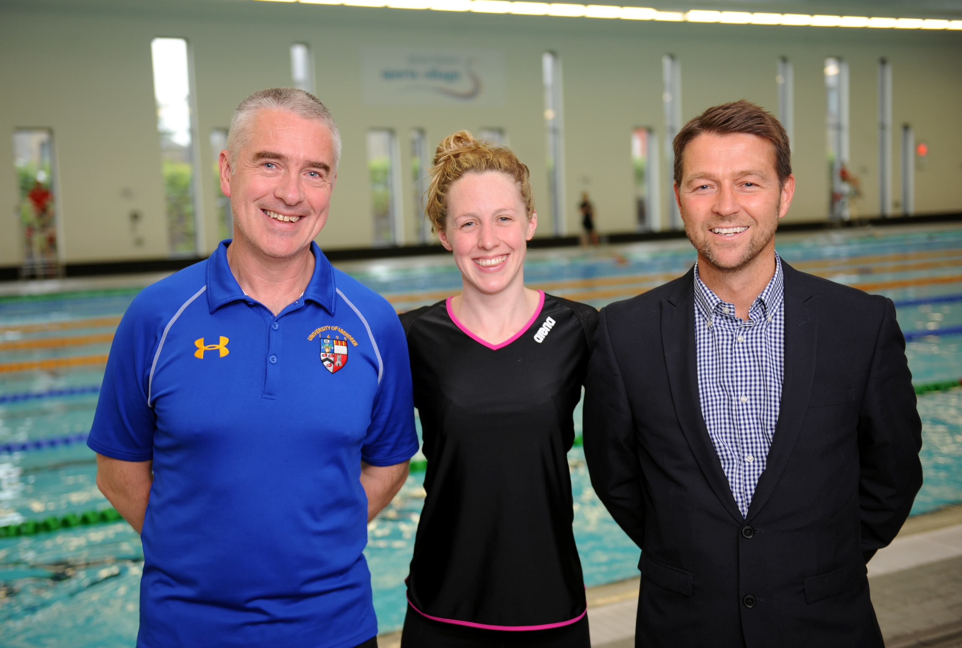 From left,  Patrick Miley, Hannah Miley  and Duncan Sinclair, head of Aberdeen Sports Village.