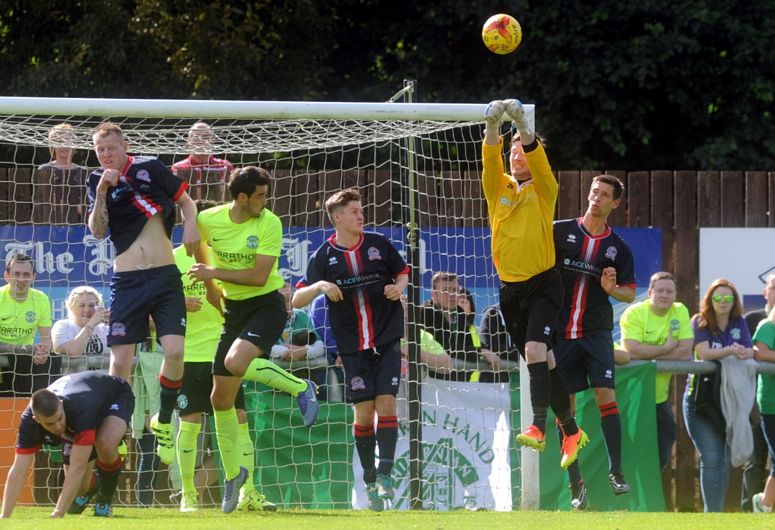 Turriff United keeper Kevin Main helped keep the score respectable at the Haughs.