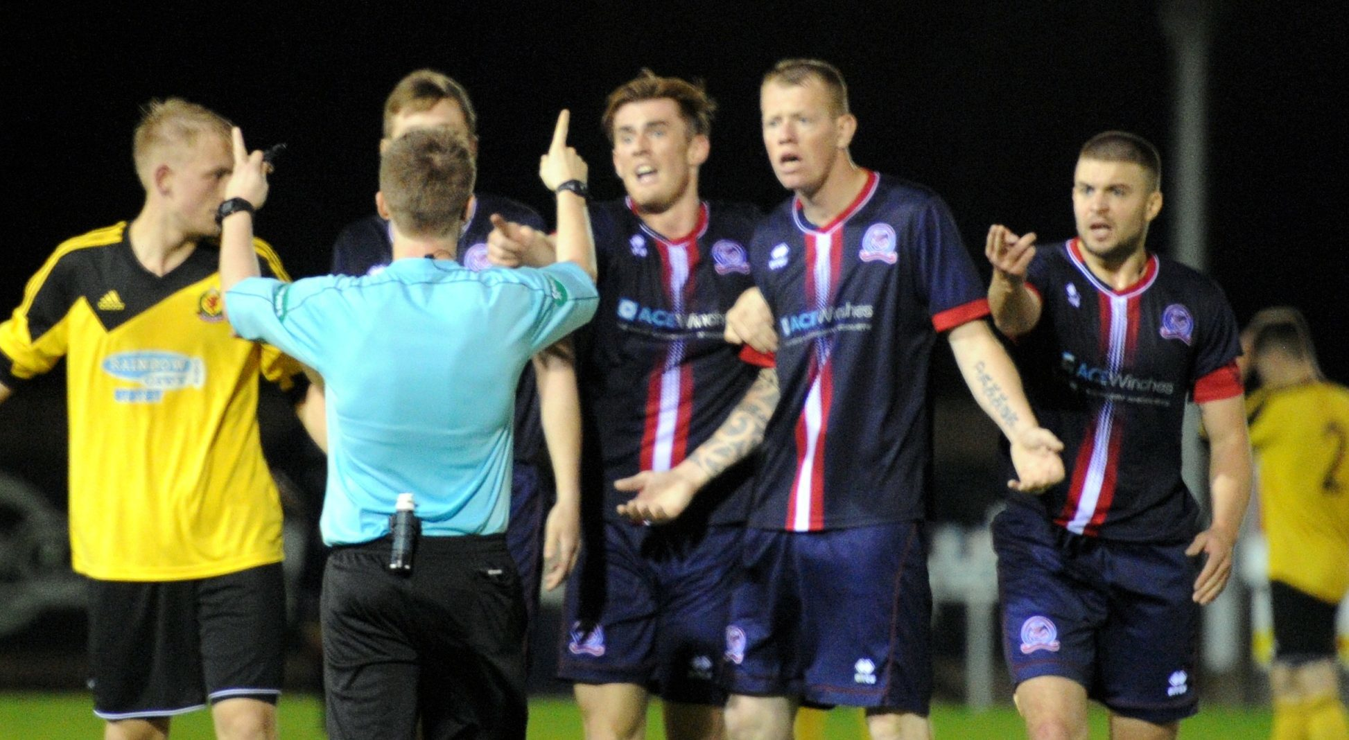 Turriff United players complained to the referee.