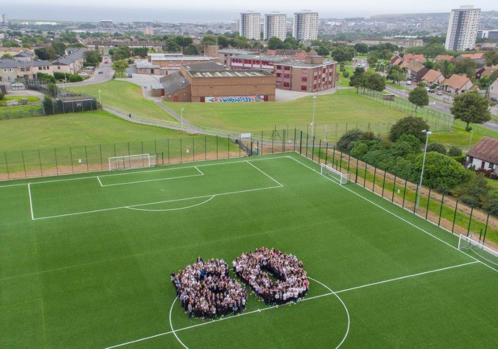 Pupils and staff at Northfield previously formed a human number 60 as part of the celebrations.