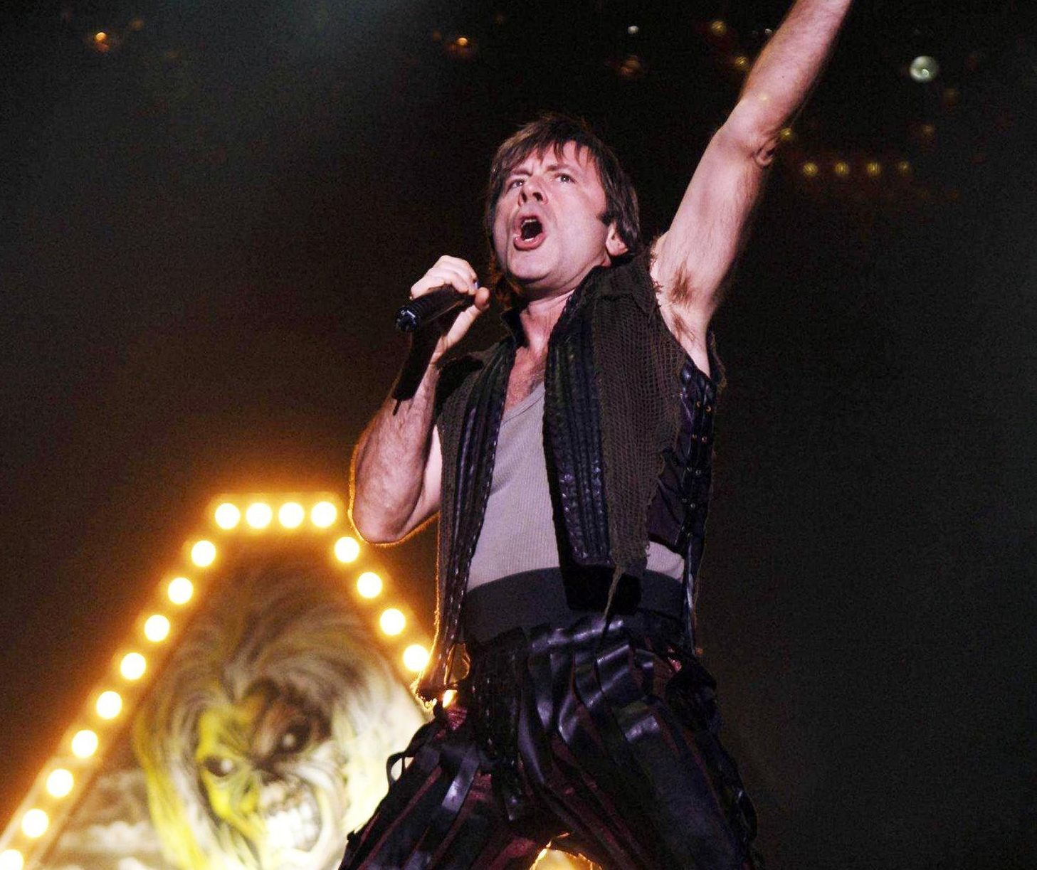 Bruce Dickinson of Iron Maiden delights the crowds.