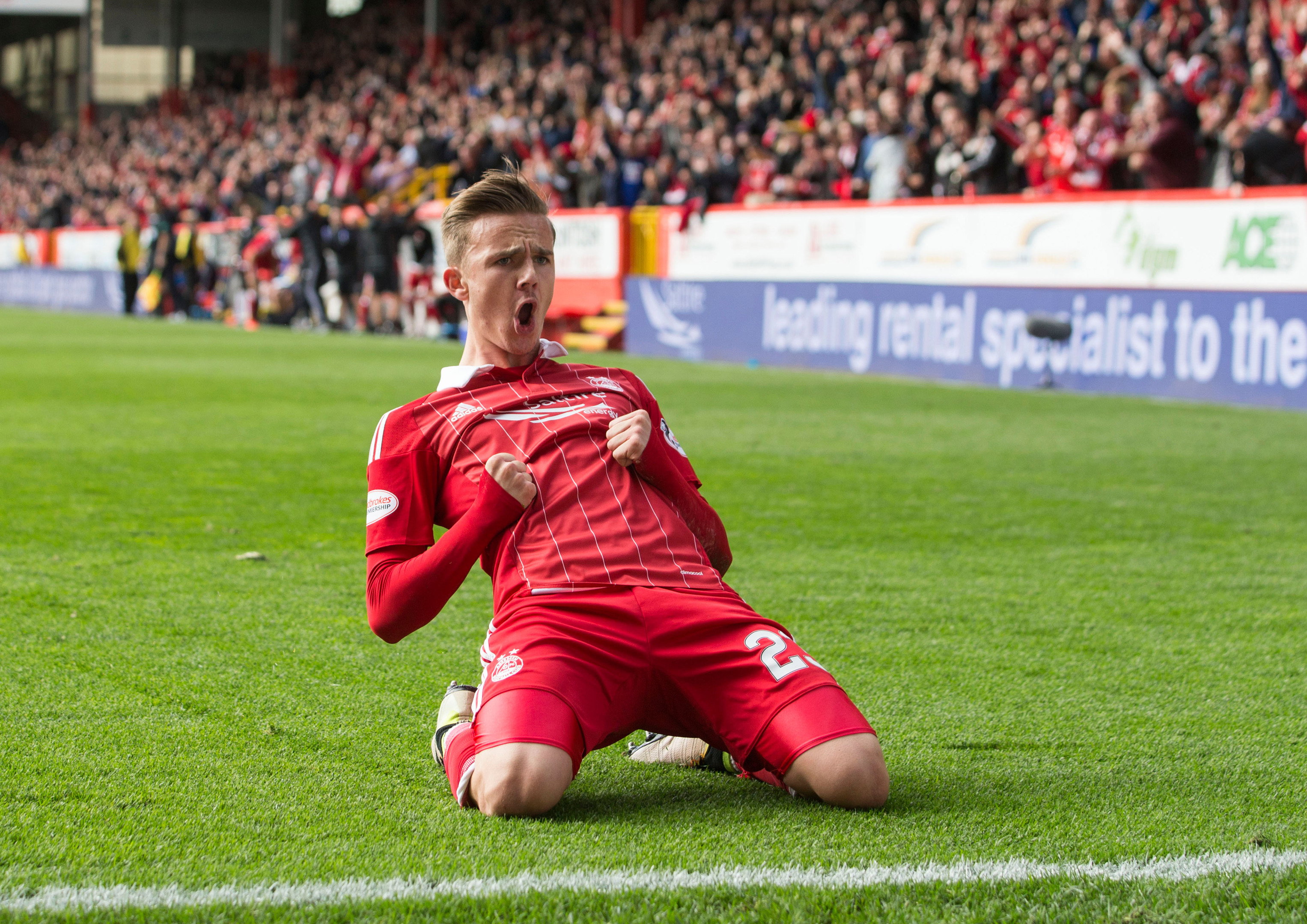 James Maddison after scoring the winner against Rangers at Pittodrie.