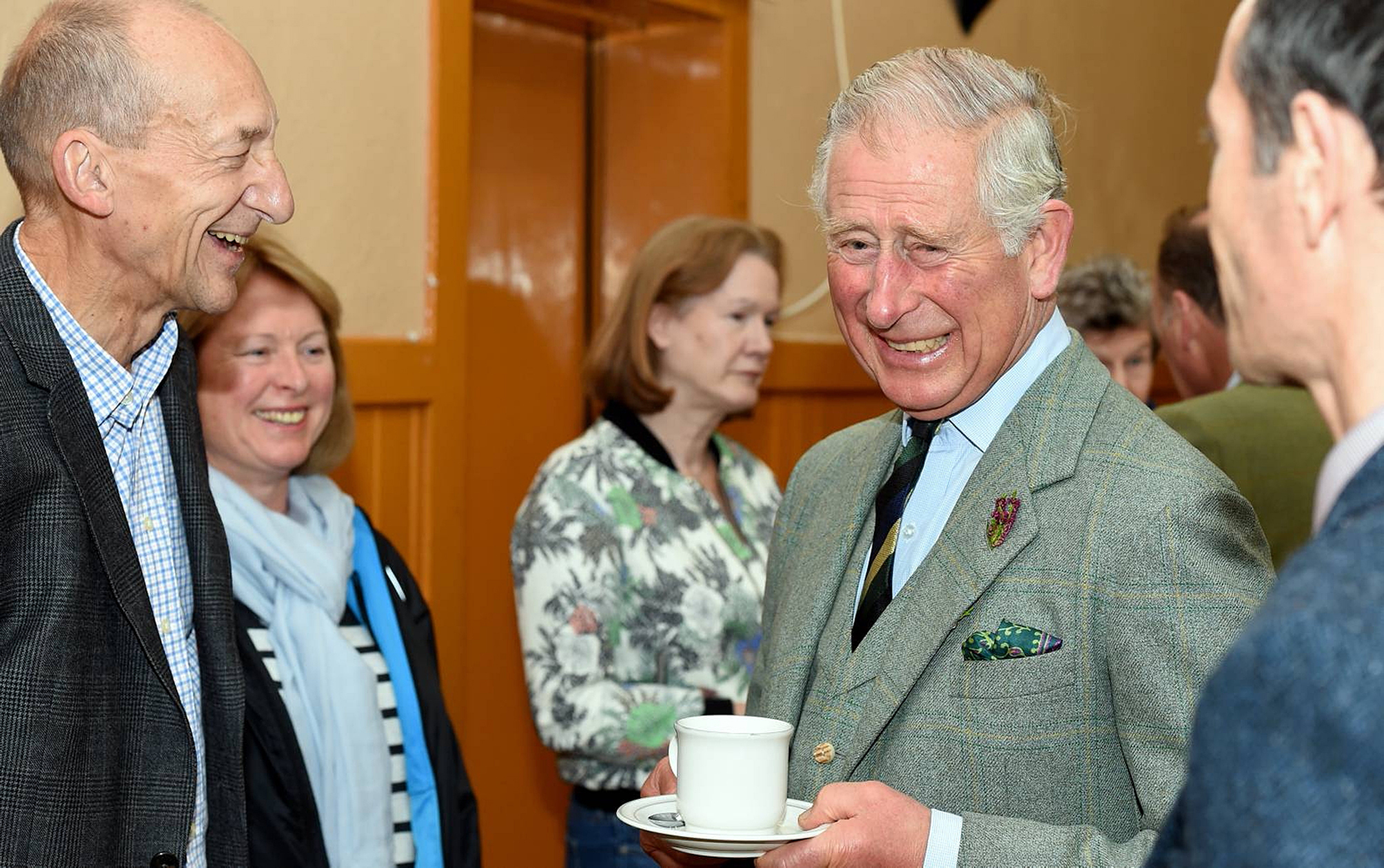 Prince Charles with members of the Braemar community.