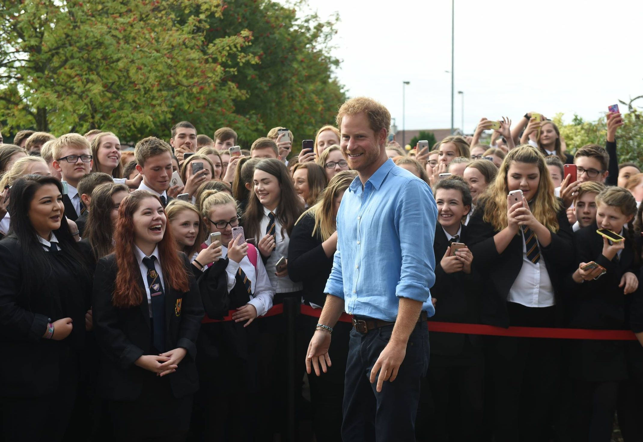 Prince Harry visited Mackie Academy in Stonehaven this morning.