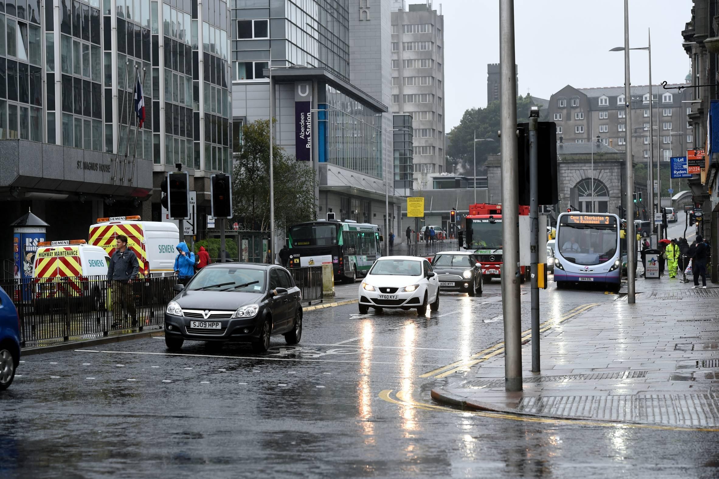 Traffic lights are broken at  the Market Street/Guild Street junction.