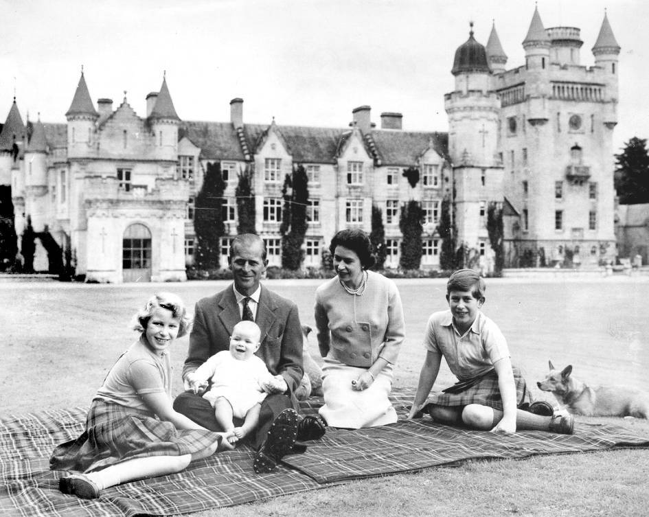 1960: The Royal Family on holiday at Balmoral with baby Prince Andrew