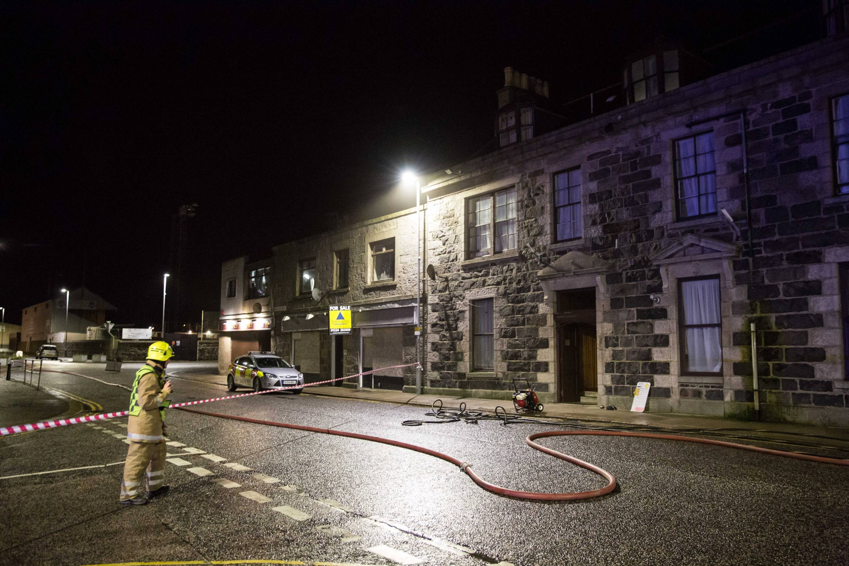 The fire happened at the former Station Hotel in Fraserburgh.