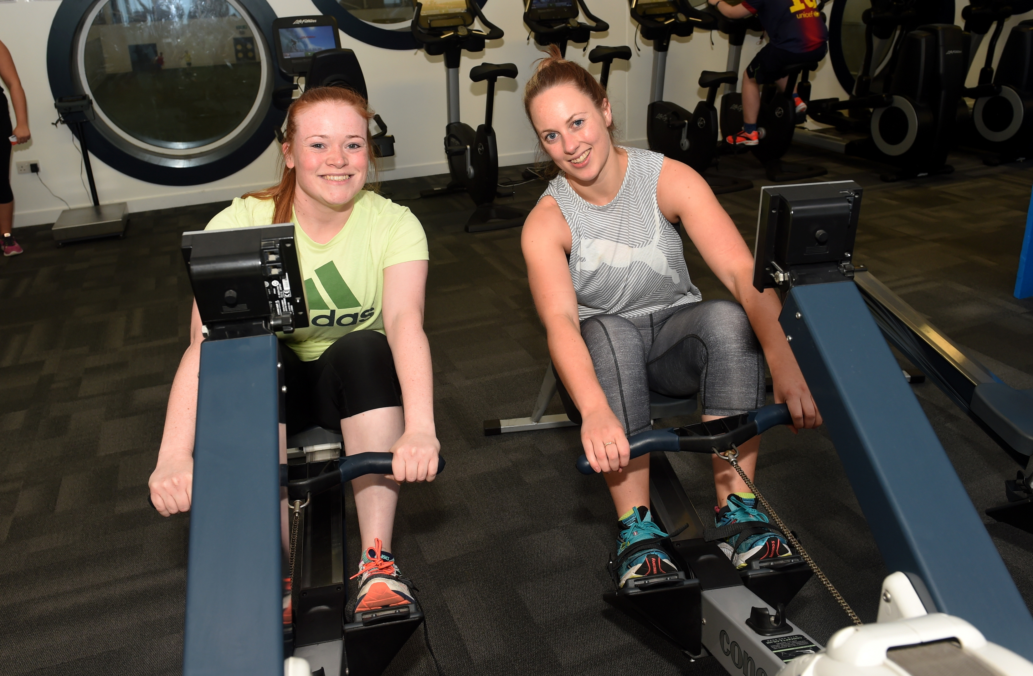 Victoria McIntosh, left, and Becci Harris said exercising together boosts their workouts.