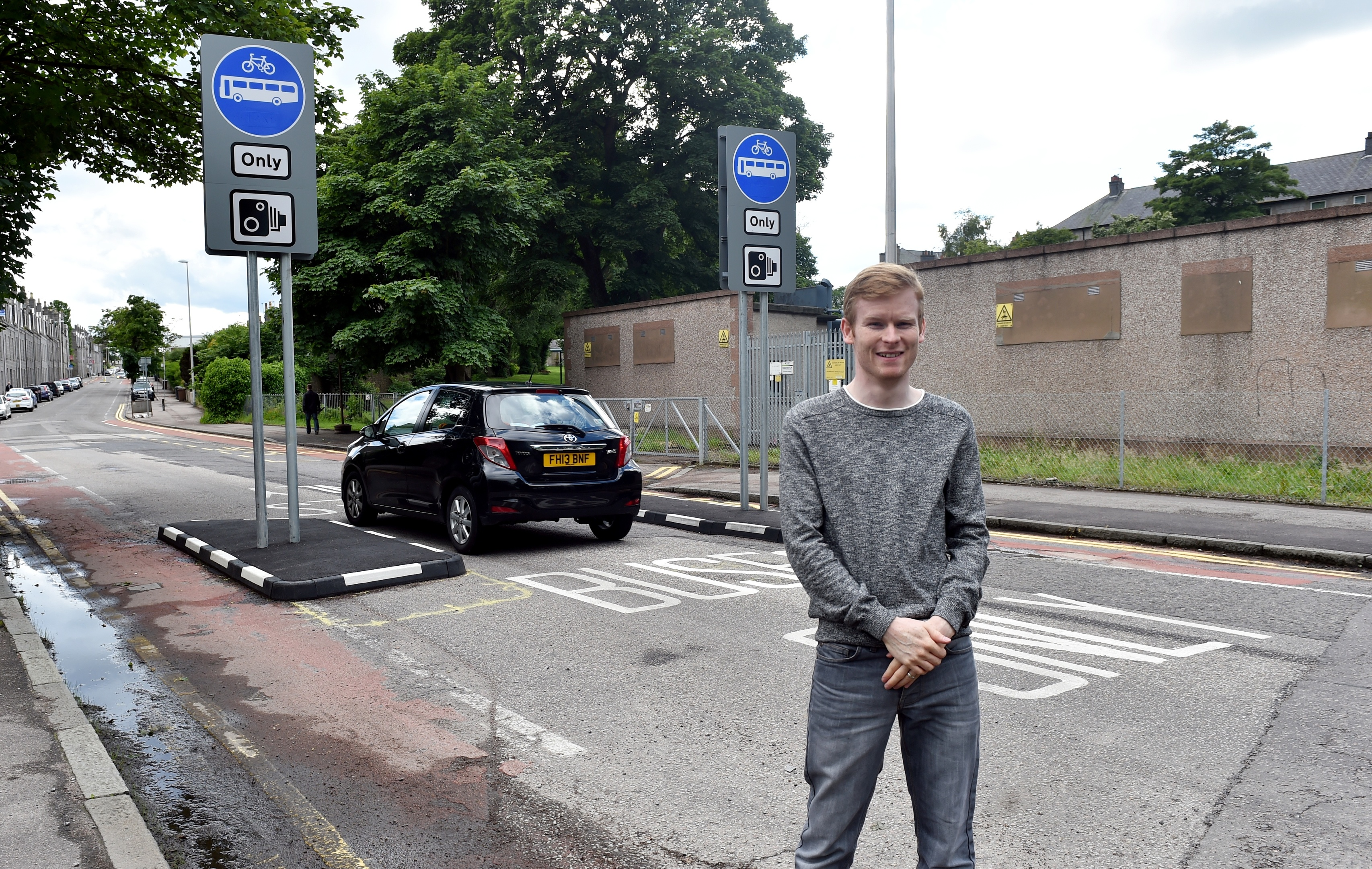 Cllr Ross Grant at the bus gate on Bedford Road.