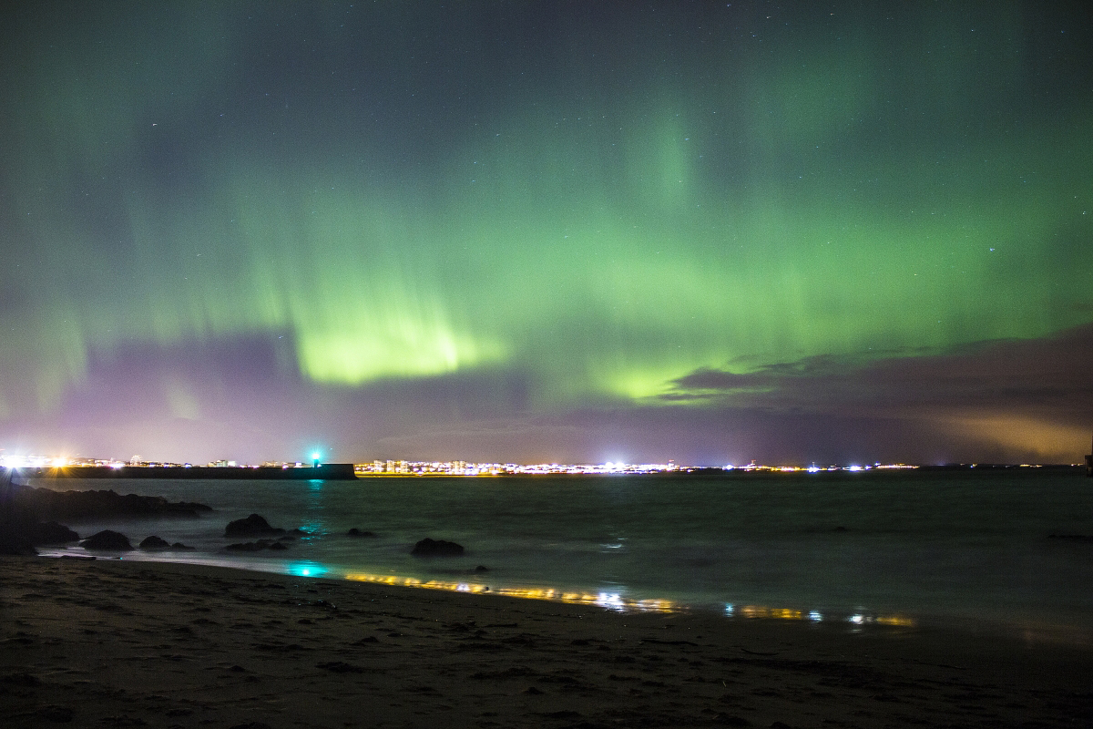 The Northern Lights over Aberdeen Harbour by Eryk Mrozinski.