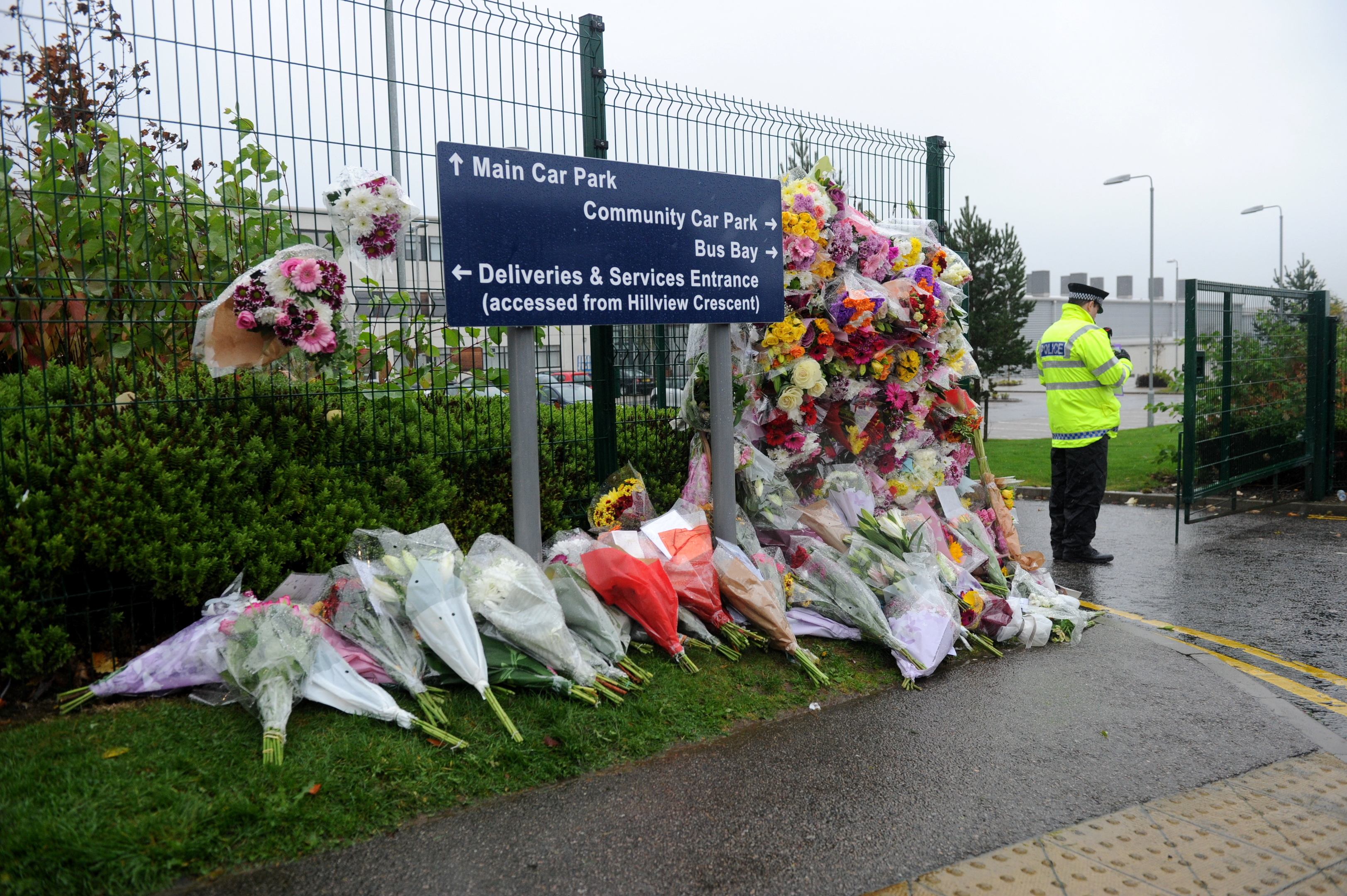 The police presence outside Cults Academy following Bailey's death.