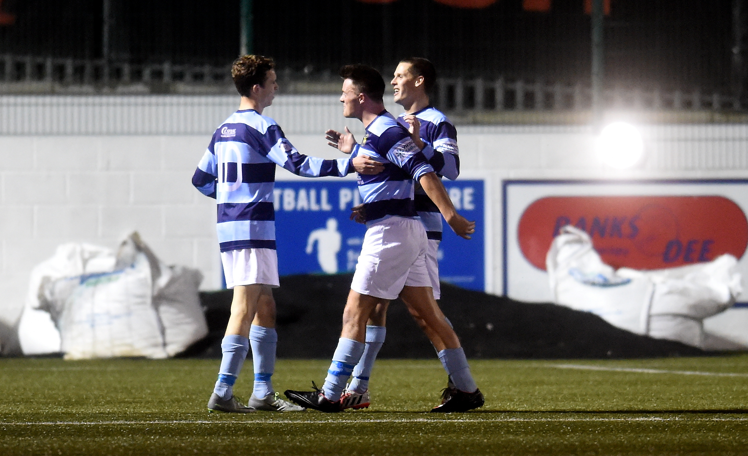 Michael Philipson celebrates after scoring Banks o' Dee's second goal.