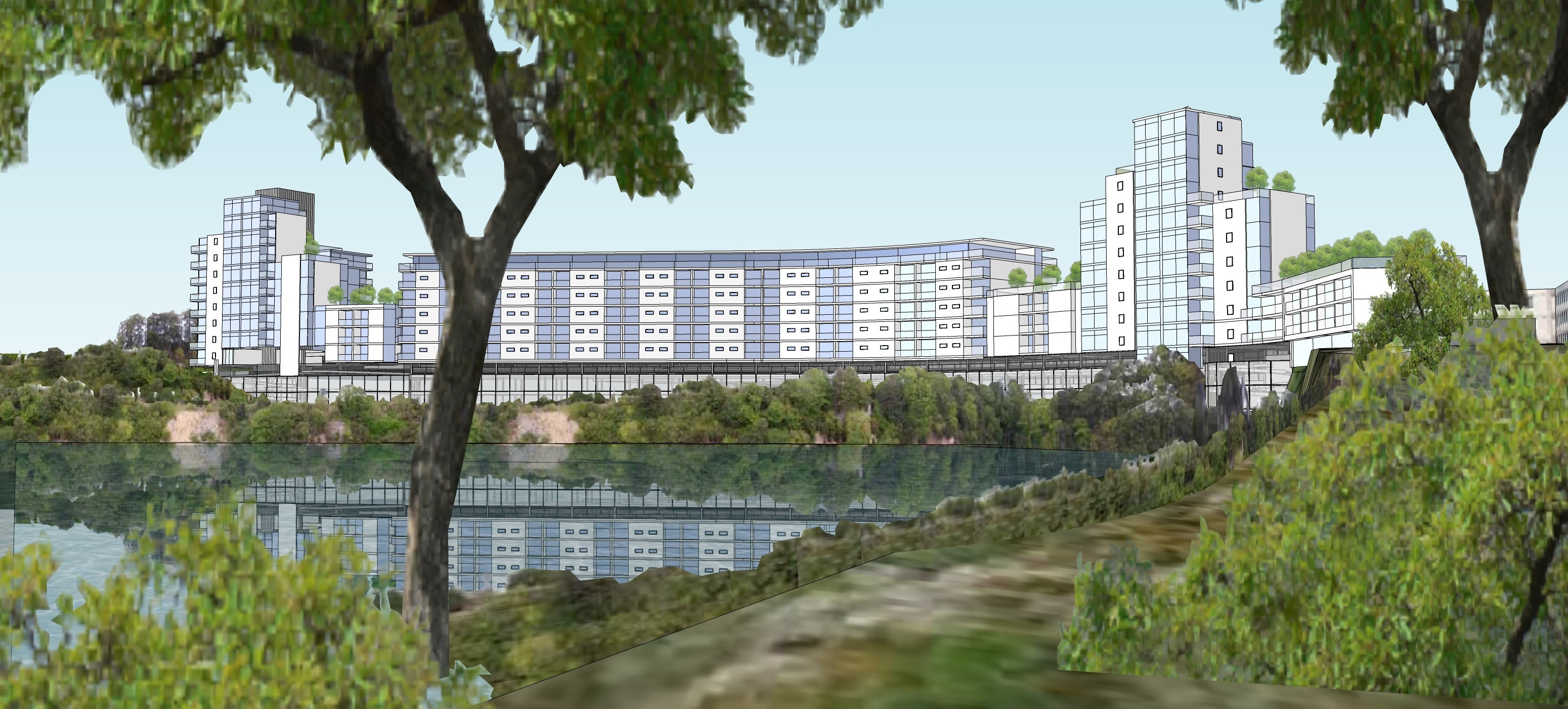 modern:  An artist's impression of the proposed flats development at Rubislaw Quarry.