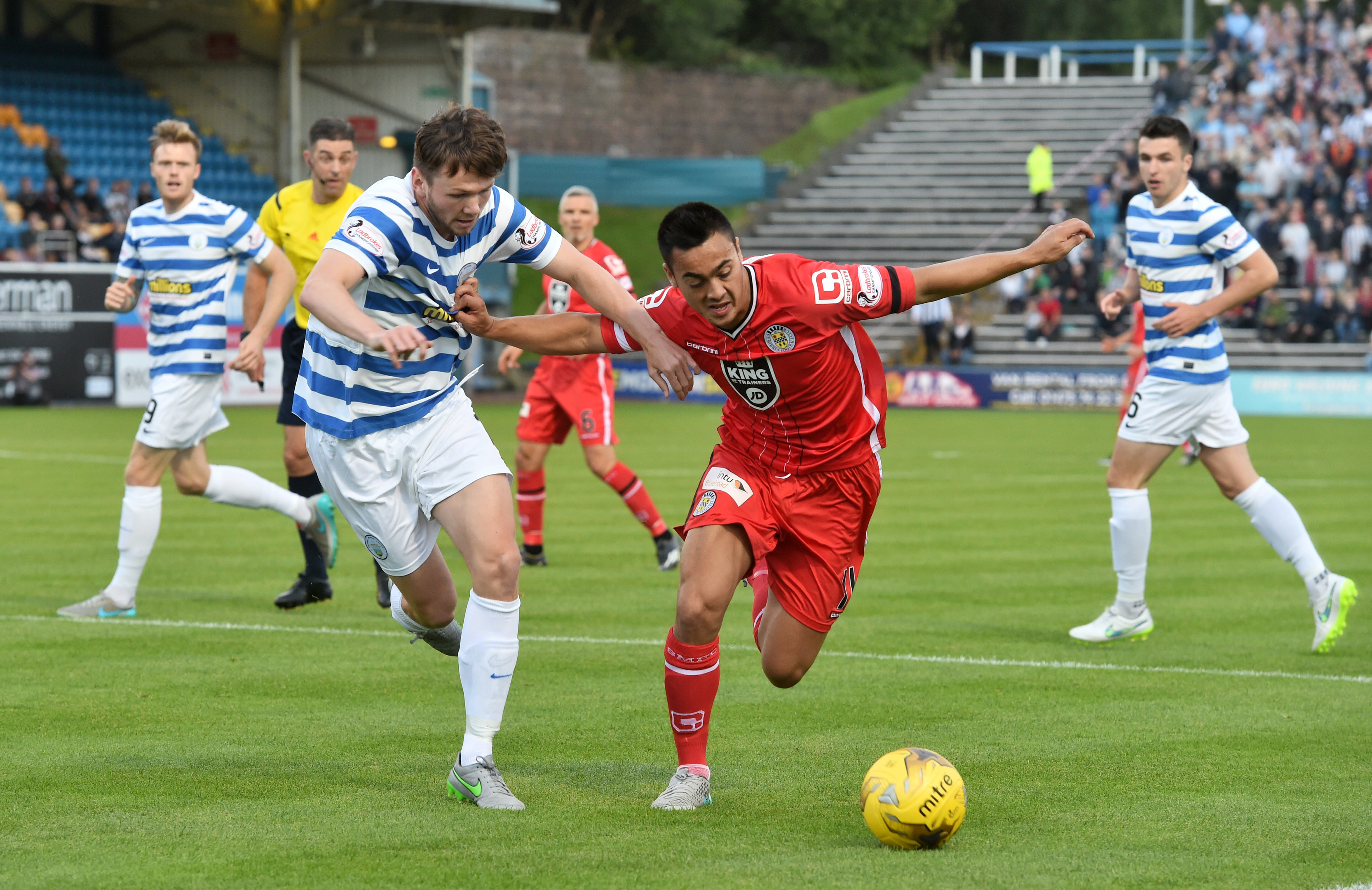 Morton's Lee Kilday, left,   battles with St Mirren's Cameron Howieson at Cappielow.