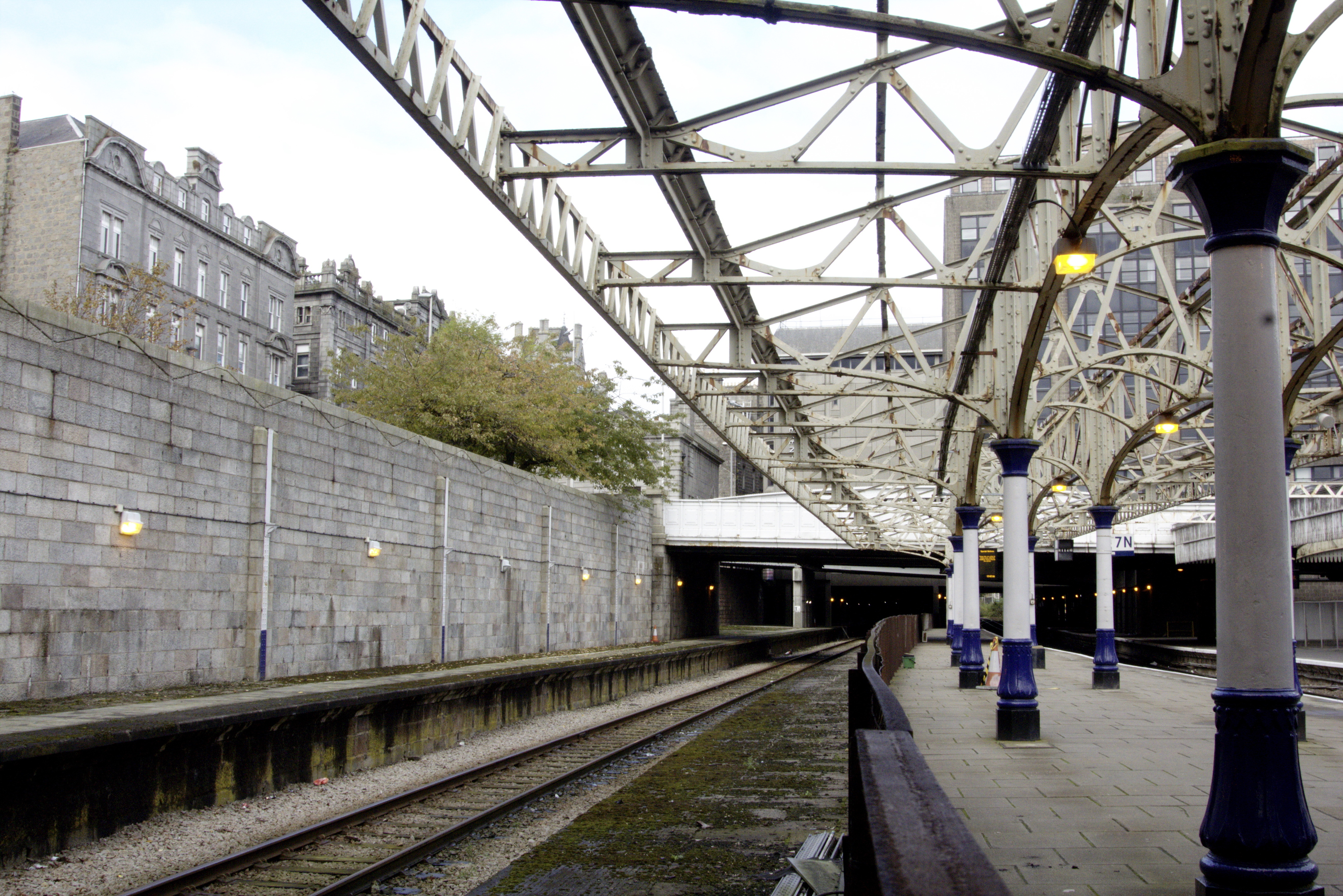 Platform nine, on the left, and eight, on the right, at Aberdeen Railway Station haven't been used for passenger services since the 1970s.