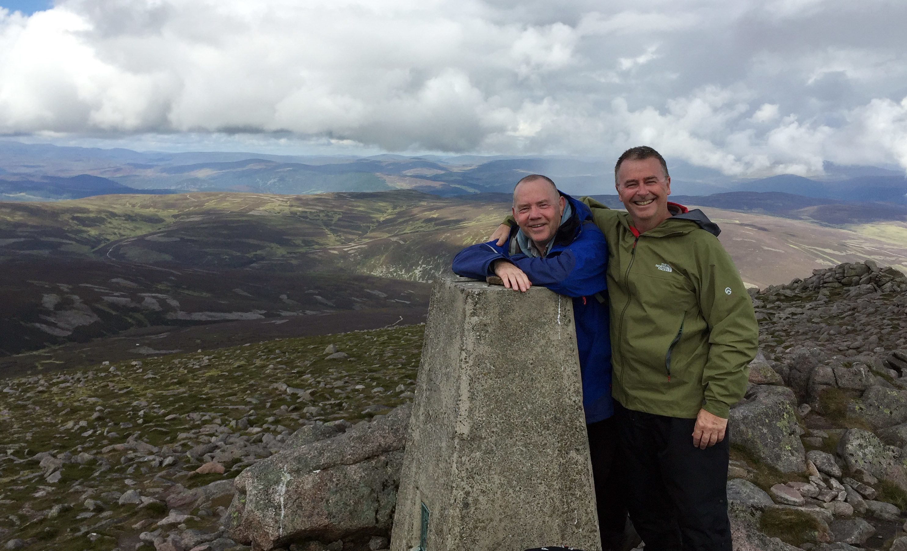 John Cushnie, left, and  brother-in-law Paul Richards on Mount Keen.