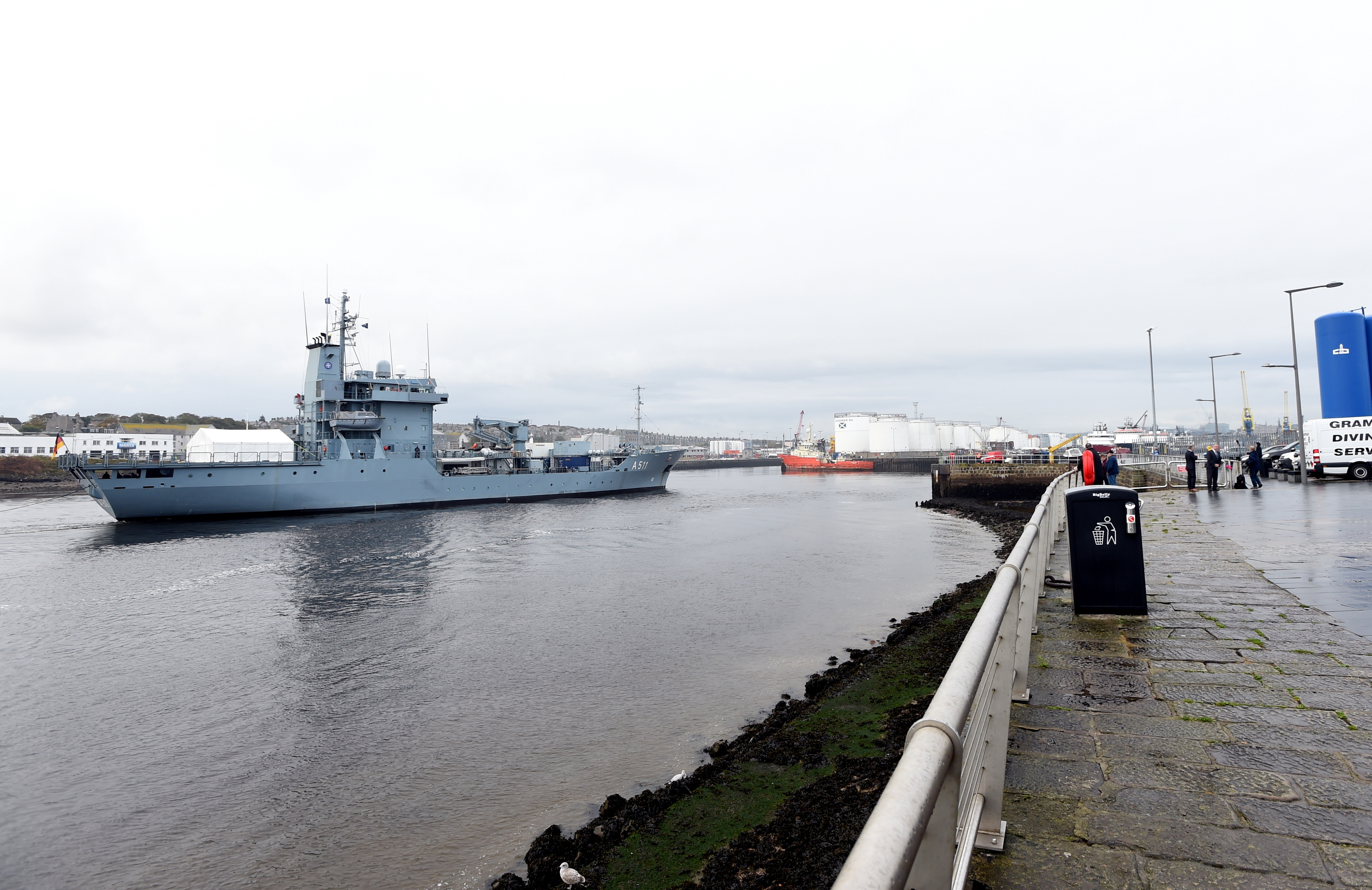 The FGS ELBE (replenishment ship)  in  Aberdeen Harbour. Inset, two of the other ships in the taskforce.