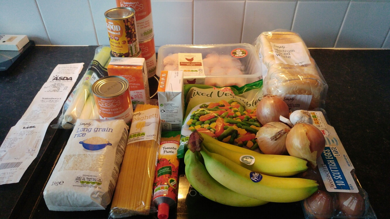 Callum's food for the five days