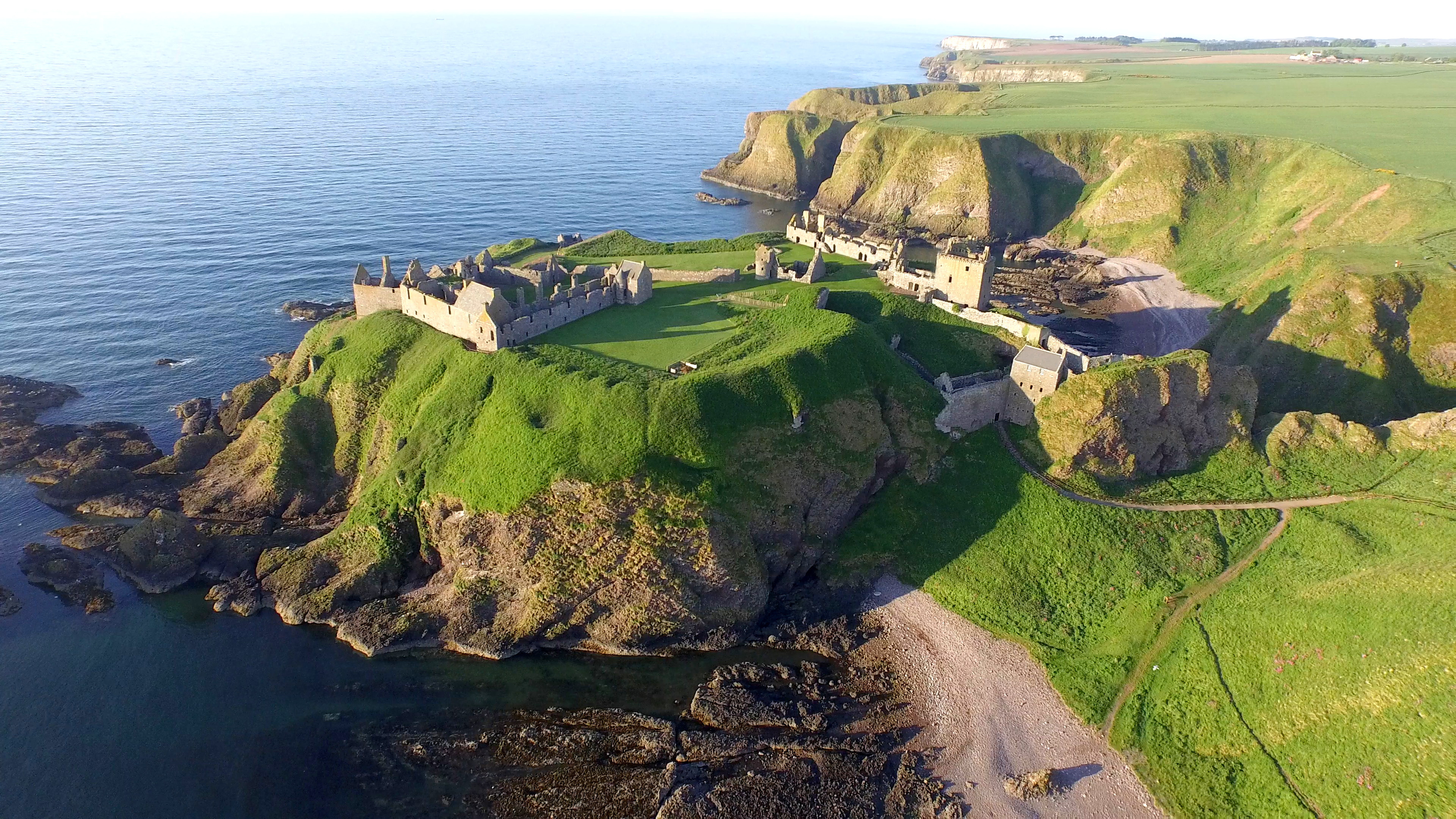 bird's eye view:  An image taken by drone of part of the historic Dunnottar Castle.  picture by mark westguard
