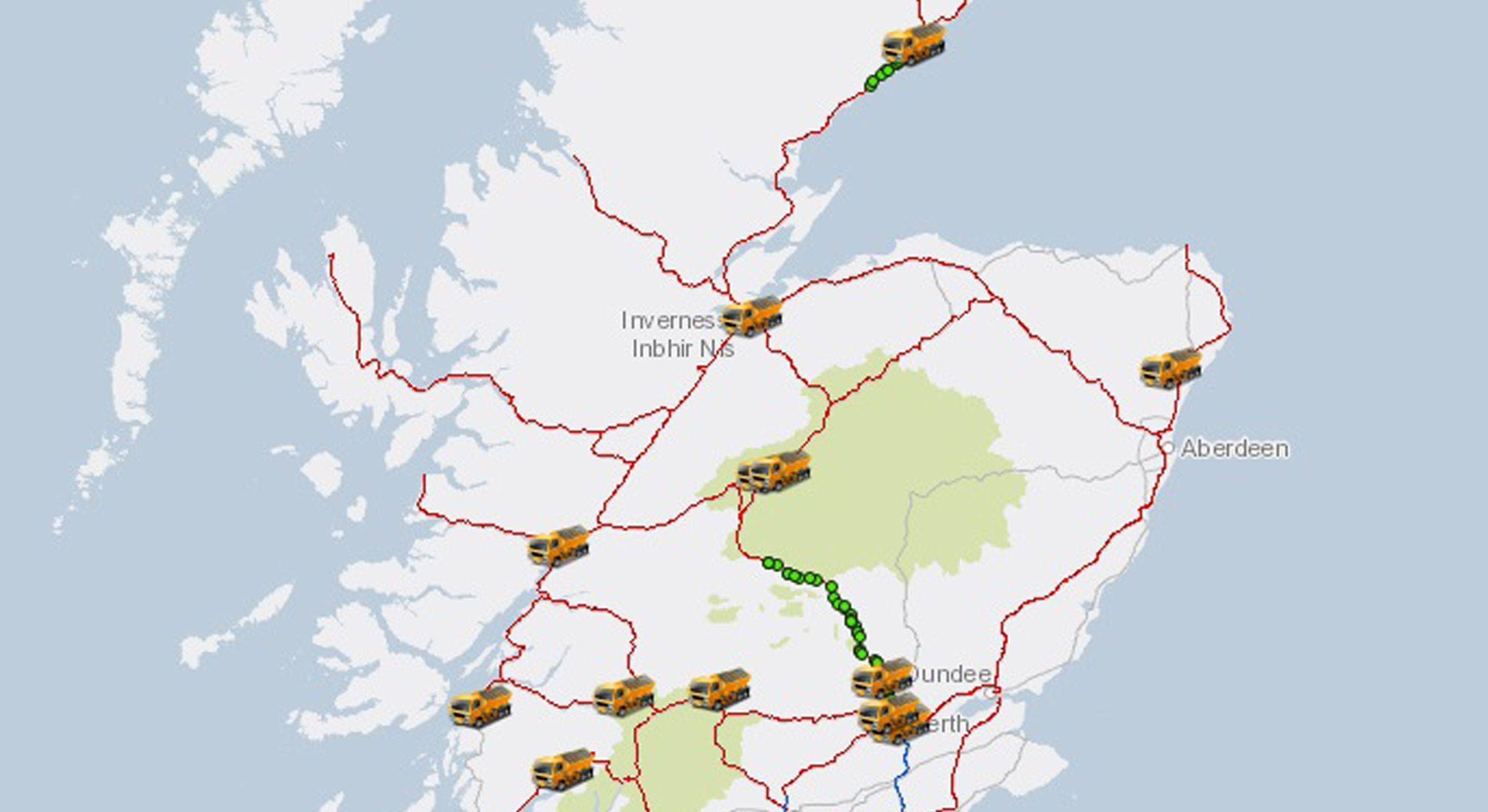 A demo of how the new Transport Scotland Gritter Tracker will look when it goes live.