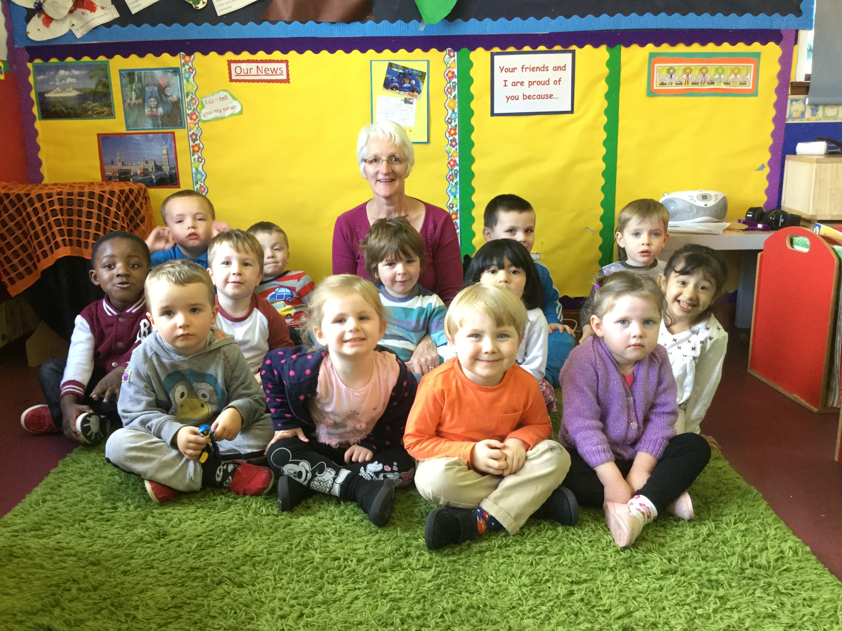 Playgroup members with play leader Janet Askew.