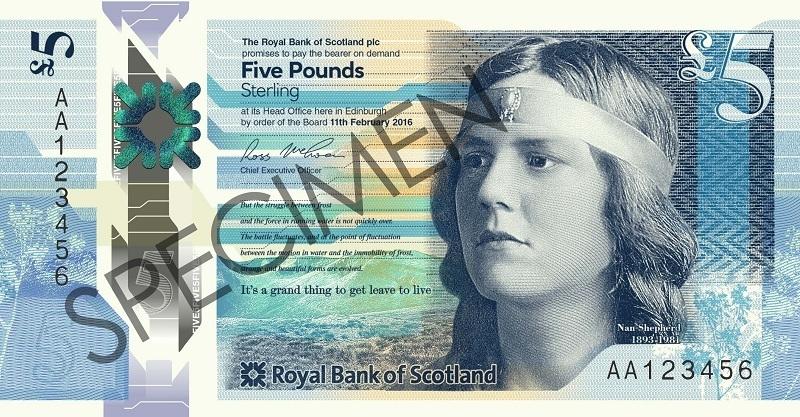 Nan Shepherd on the new £5 note.