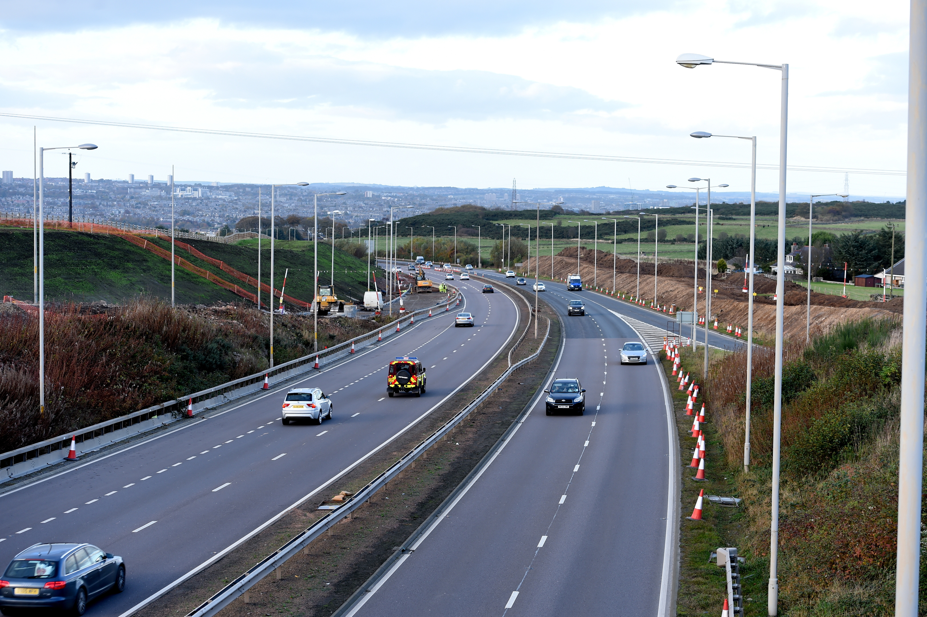 progress:  AWPR work is ongoing at the A90 by Charleston where a 50mph limit is to be imposed until next winter.