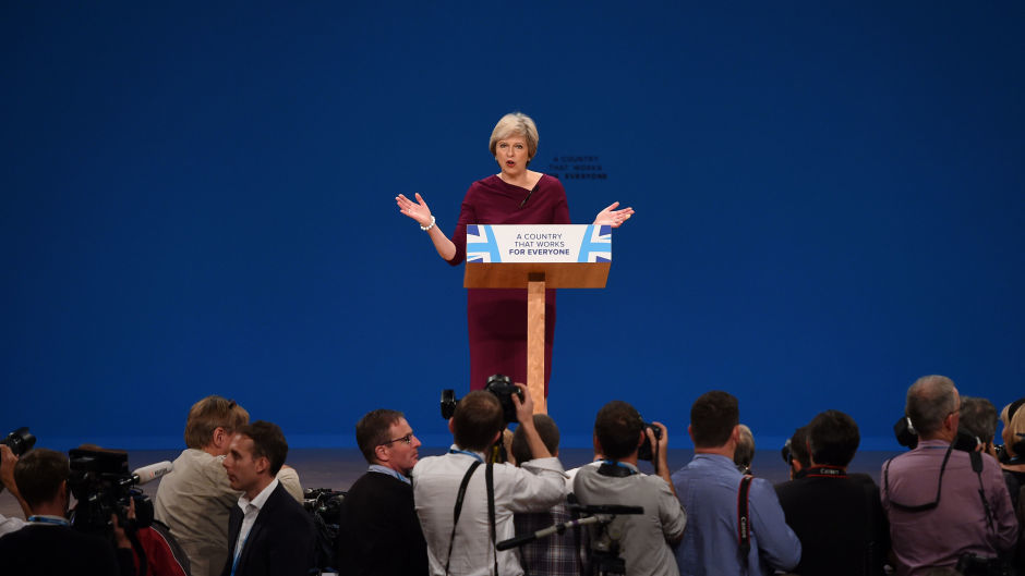 Theresa May makes her address to the Conservative conference