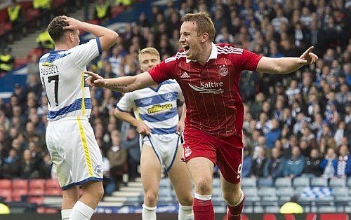 Adam Rooney celebrates Aberdeen's opener at Hampden in the 2-0 win against Morton.
