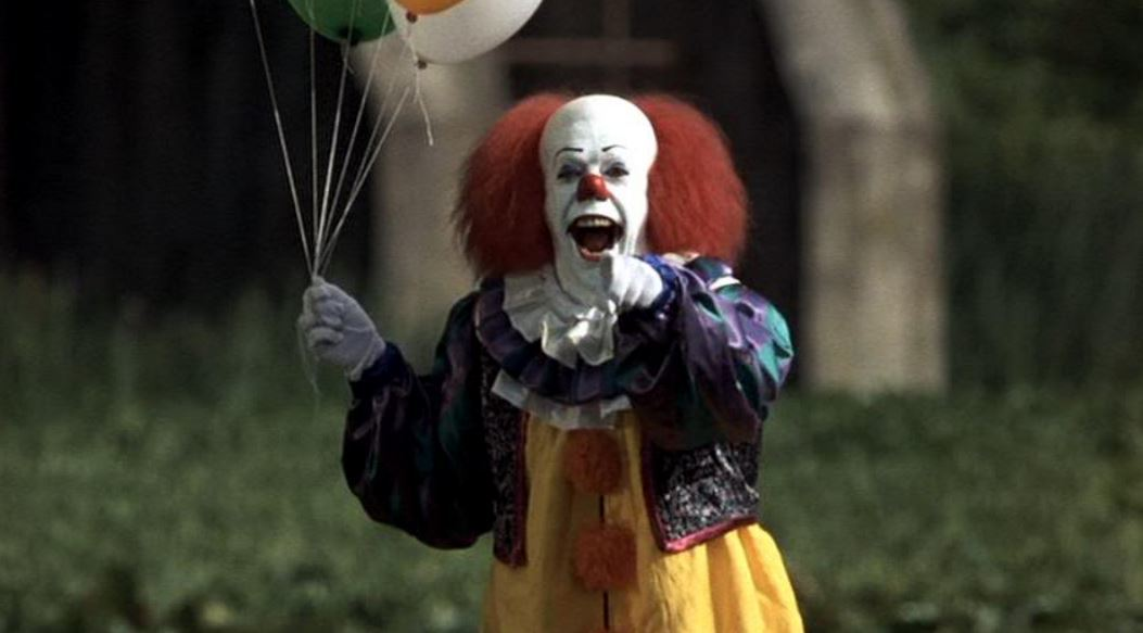 Pennywise from the TV series based on Stephen King's IT