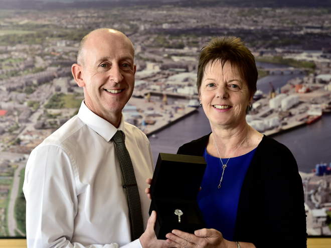 Doris Senff long service award and retirement from Aberdeen Journals, Doris is pictured with Head of Newspaper Sales Neil Mackland.