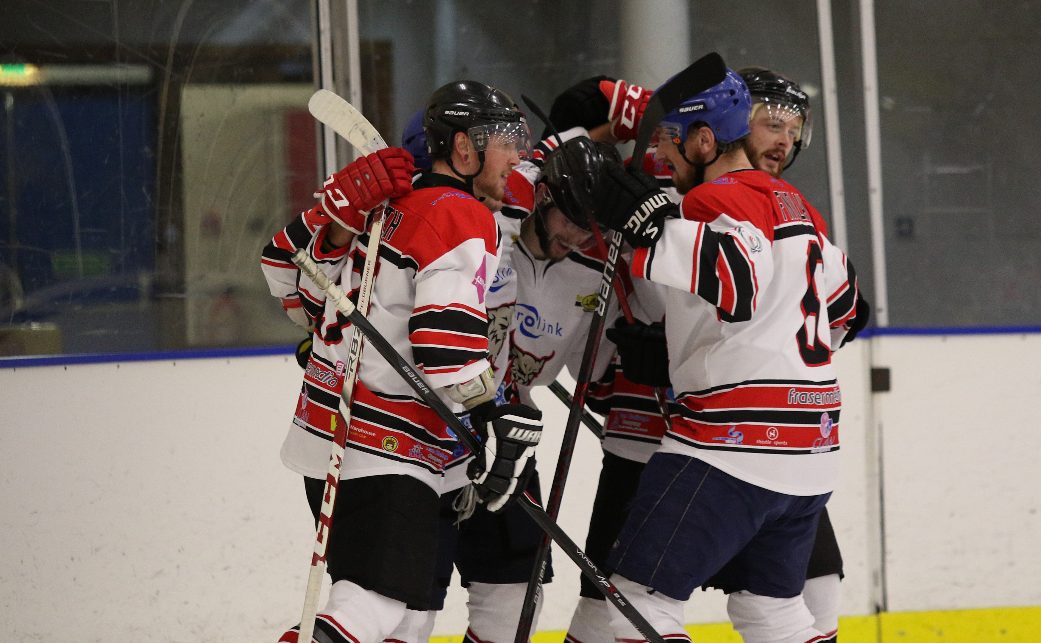 Lynx players react after Lewis McIntosh's goal. Picture by Ferguson Photography.