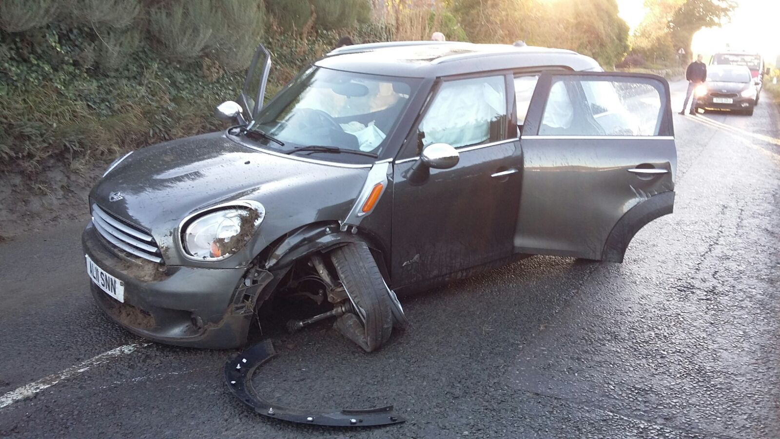 Alison's Mini Countryman was badly damaged after a boulder hit it.
