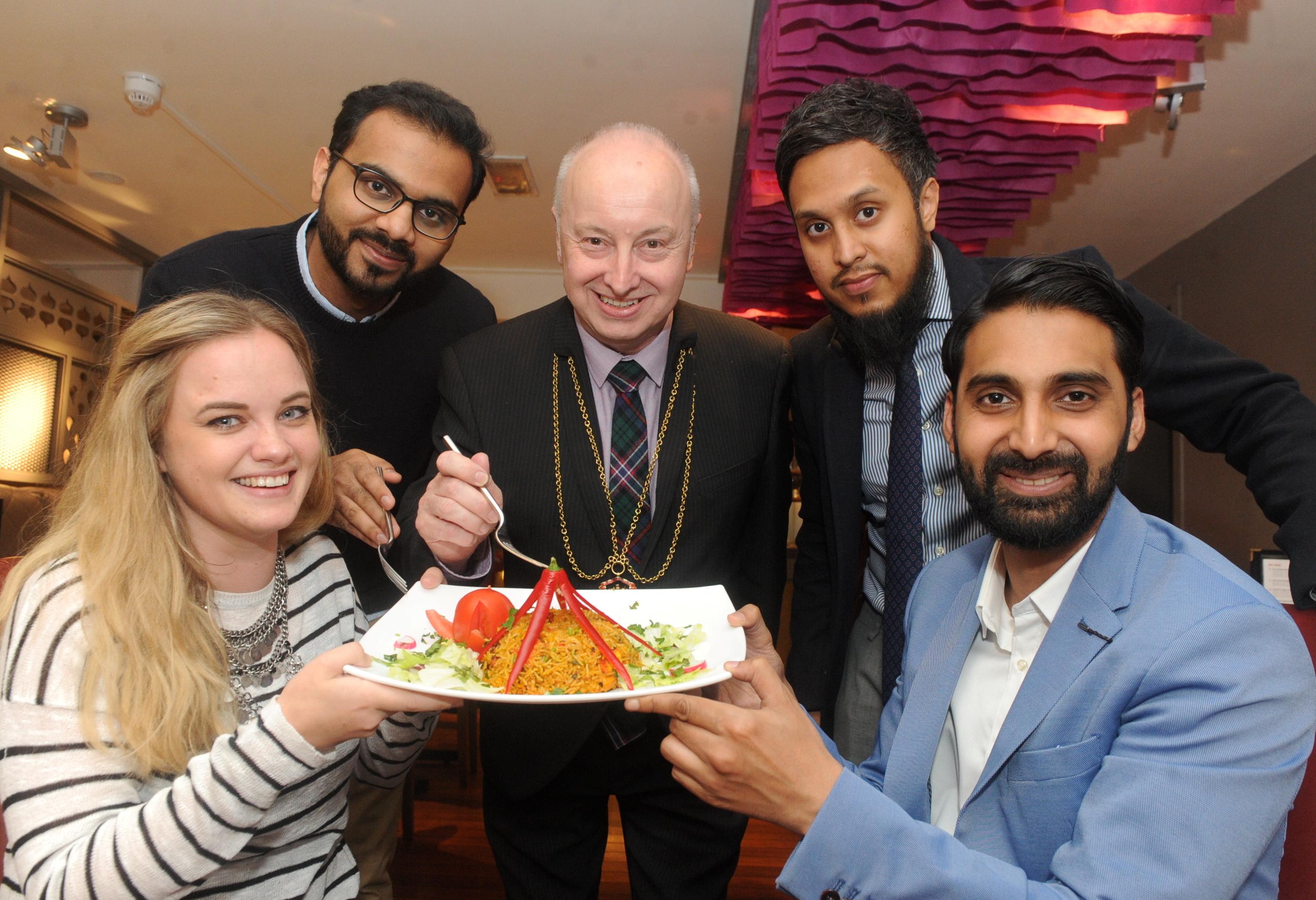 From left, Kimberley Strachan, Sameer Siddiqui, Lord Provost George Adam, Maaruf Razzak and Sumon Hoque.