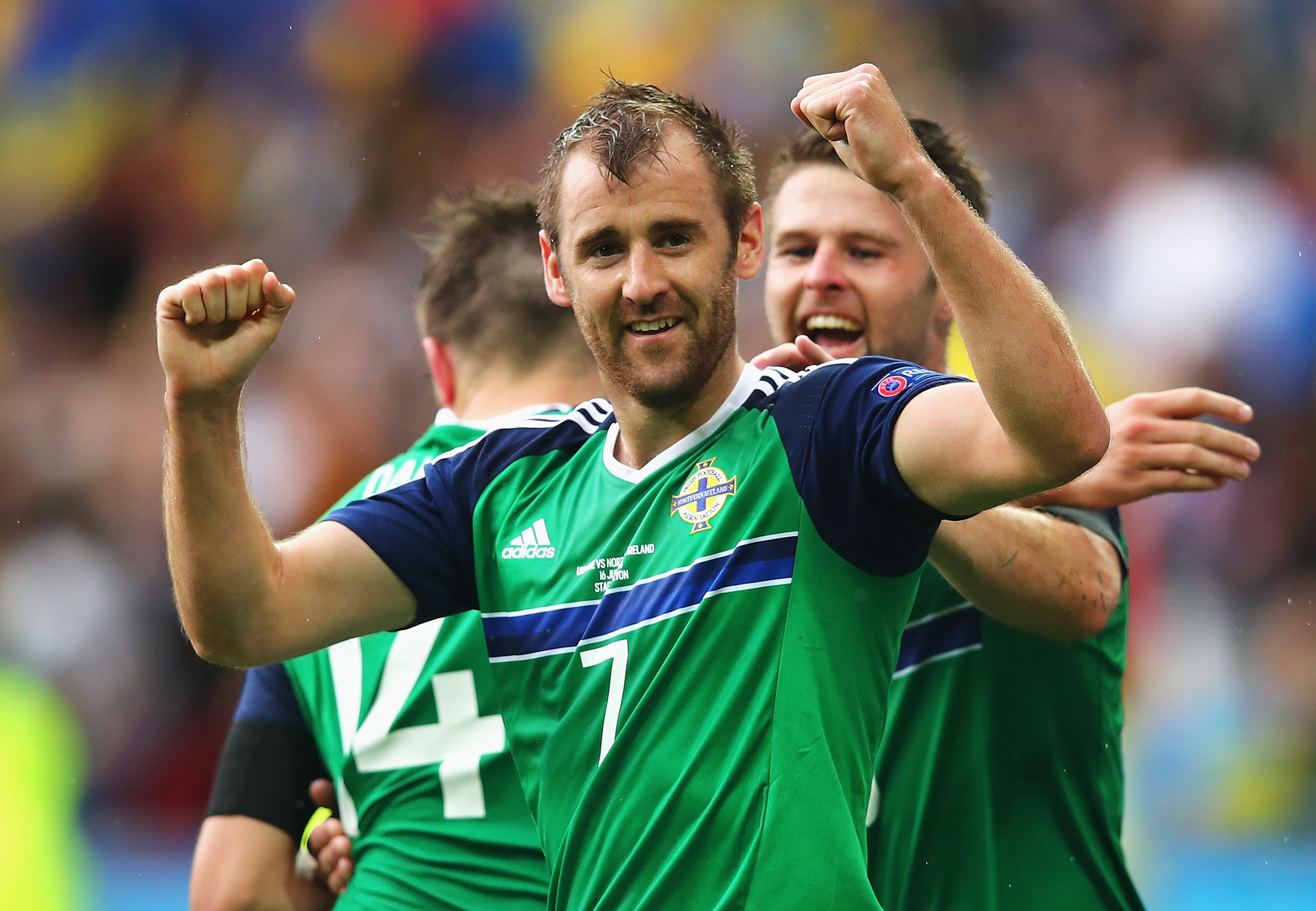 Niall McGinn celebrates scoring for Northern Ireland against Ukraine at Euro 2016.