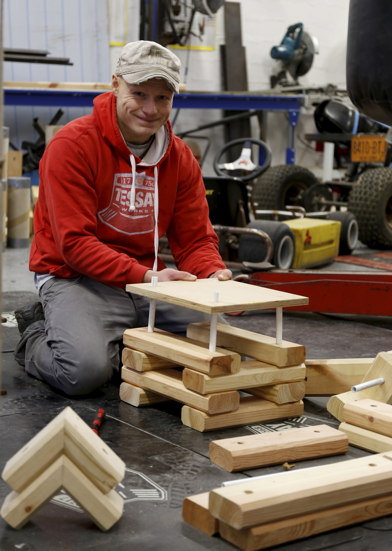 Ben has created Tessay Blocks, wooden bricks  which can be transformed into countless structures.