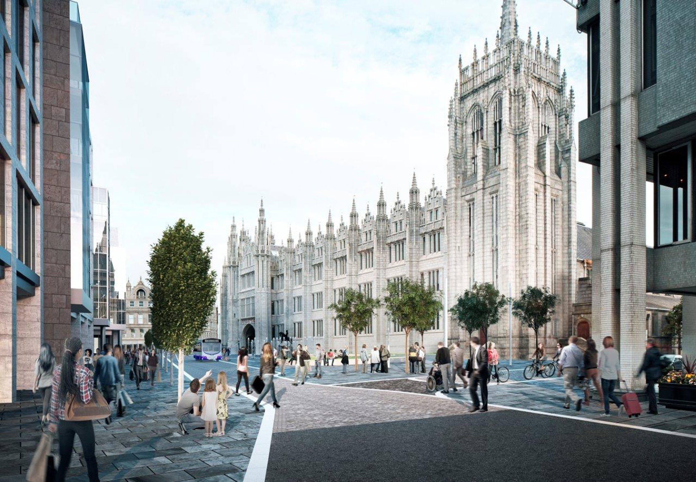An artist's impression of the plan for Aberdeen's Broad Street.