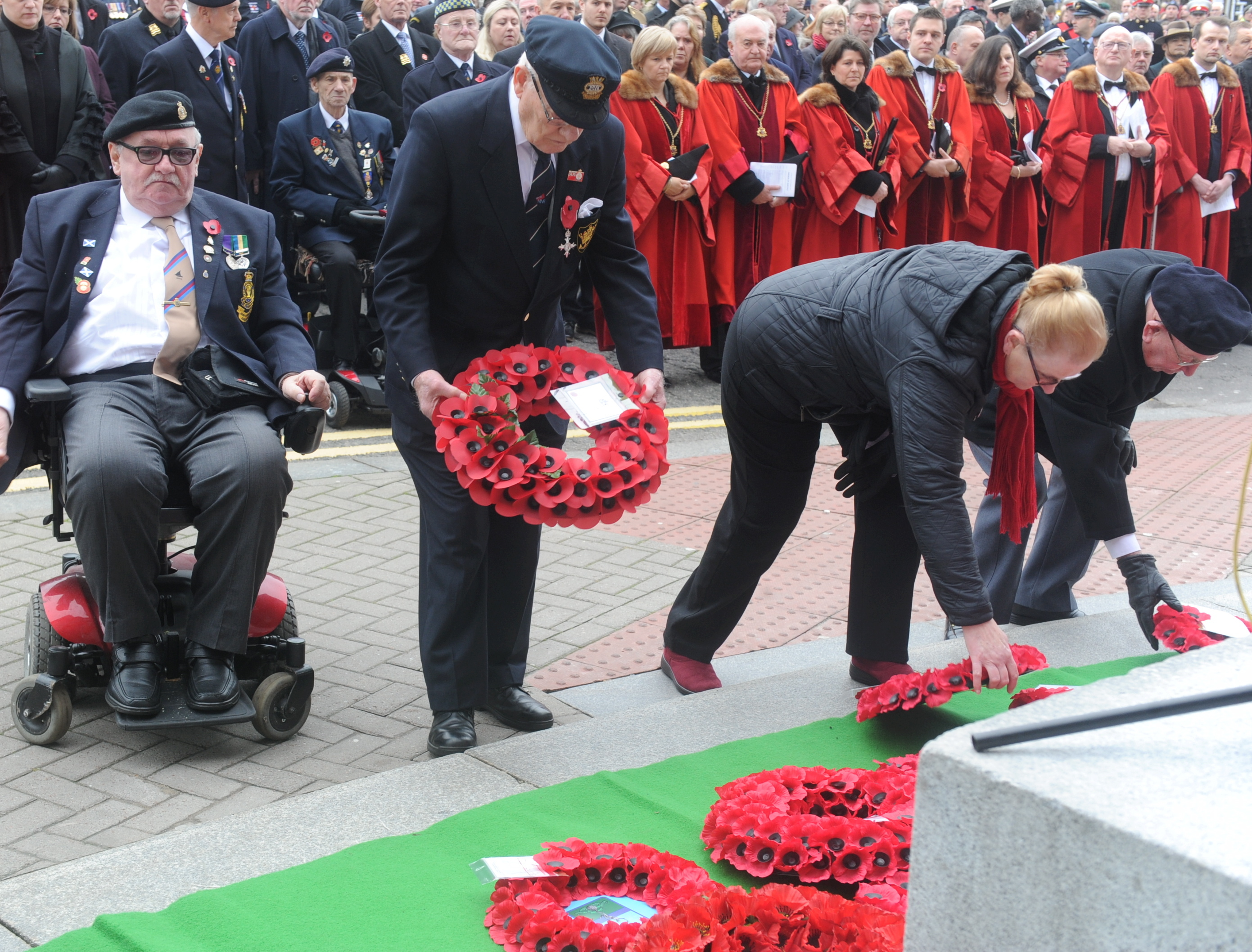 Wreaths are laid at Aberdeen's memorial