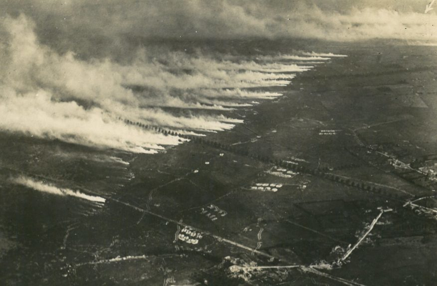 An aerial image of a Somme gas attack