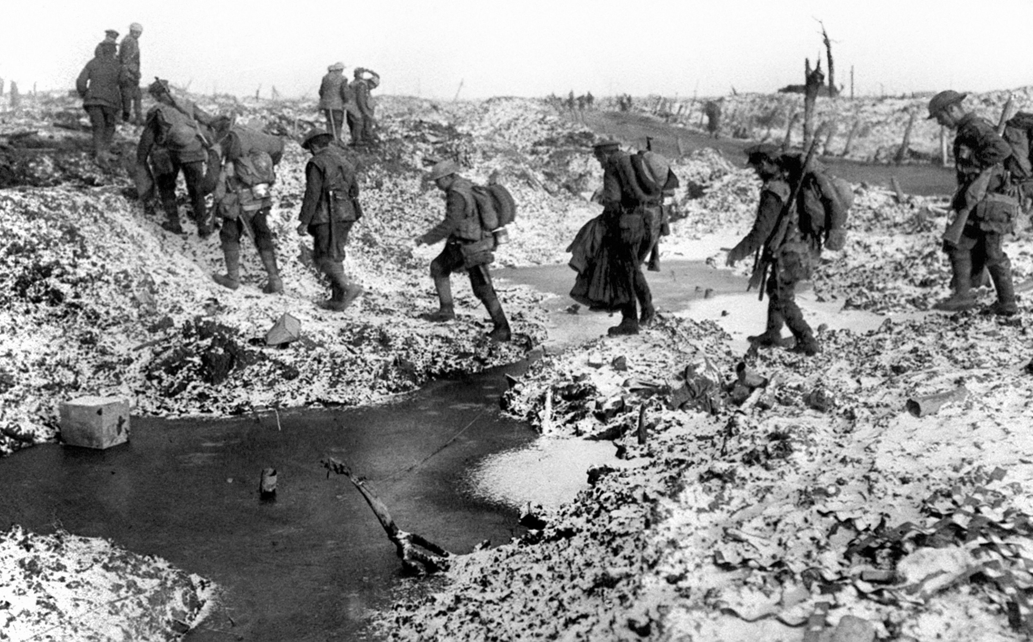 Soldiers had to trek through dreadful conditions on the Western Front.